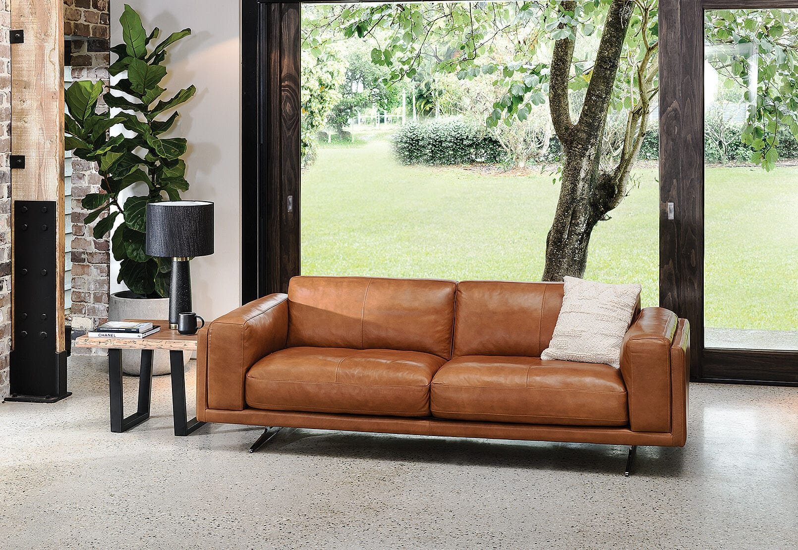 Alessandra three seater tan leather sofa from amart furniture