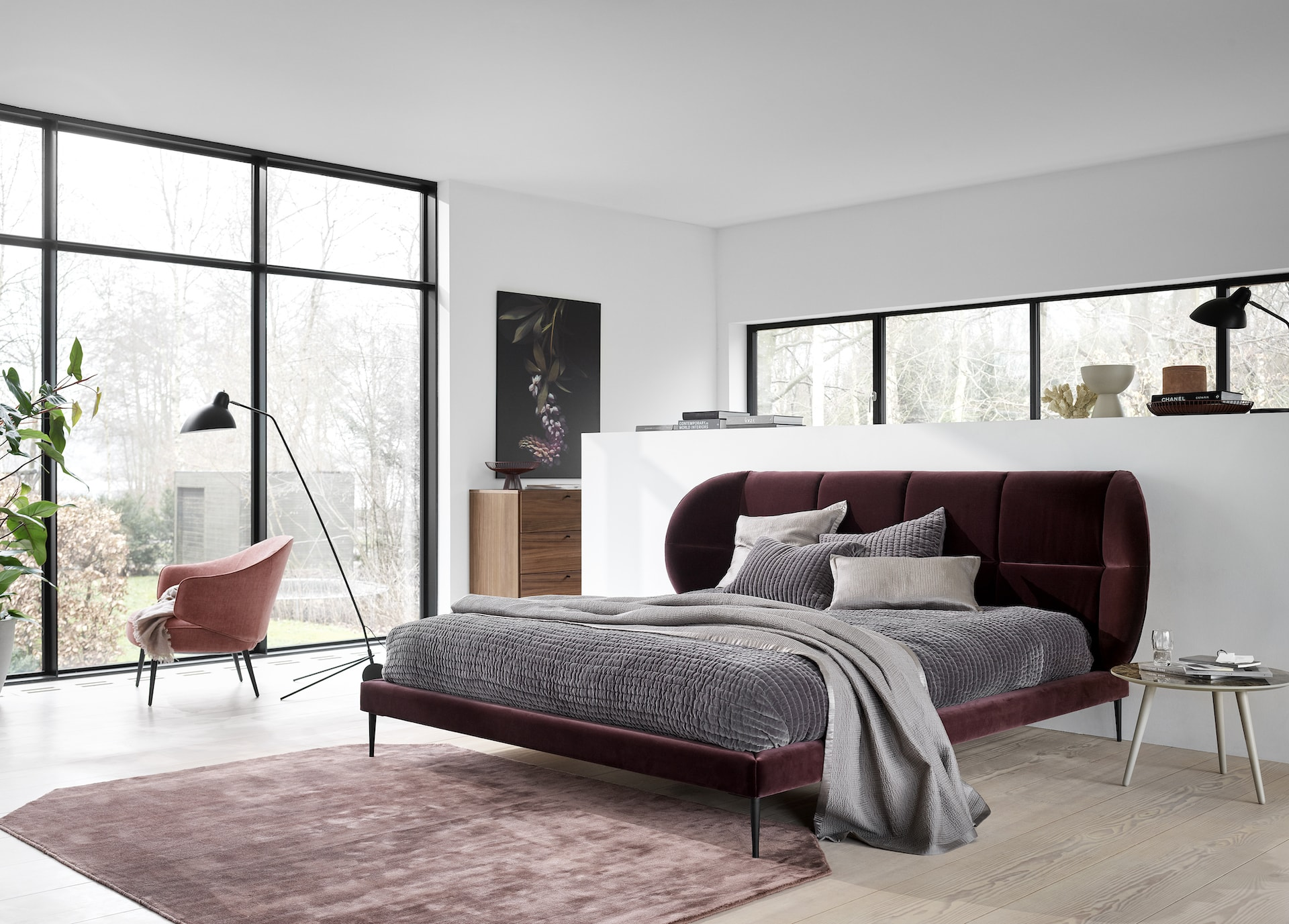 bo-concept-oxford-bed-with-burgundy-upholstery-in-luxe-minimal-bedroom