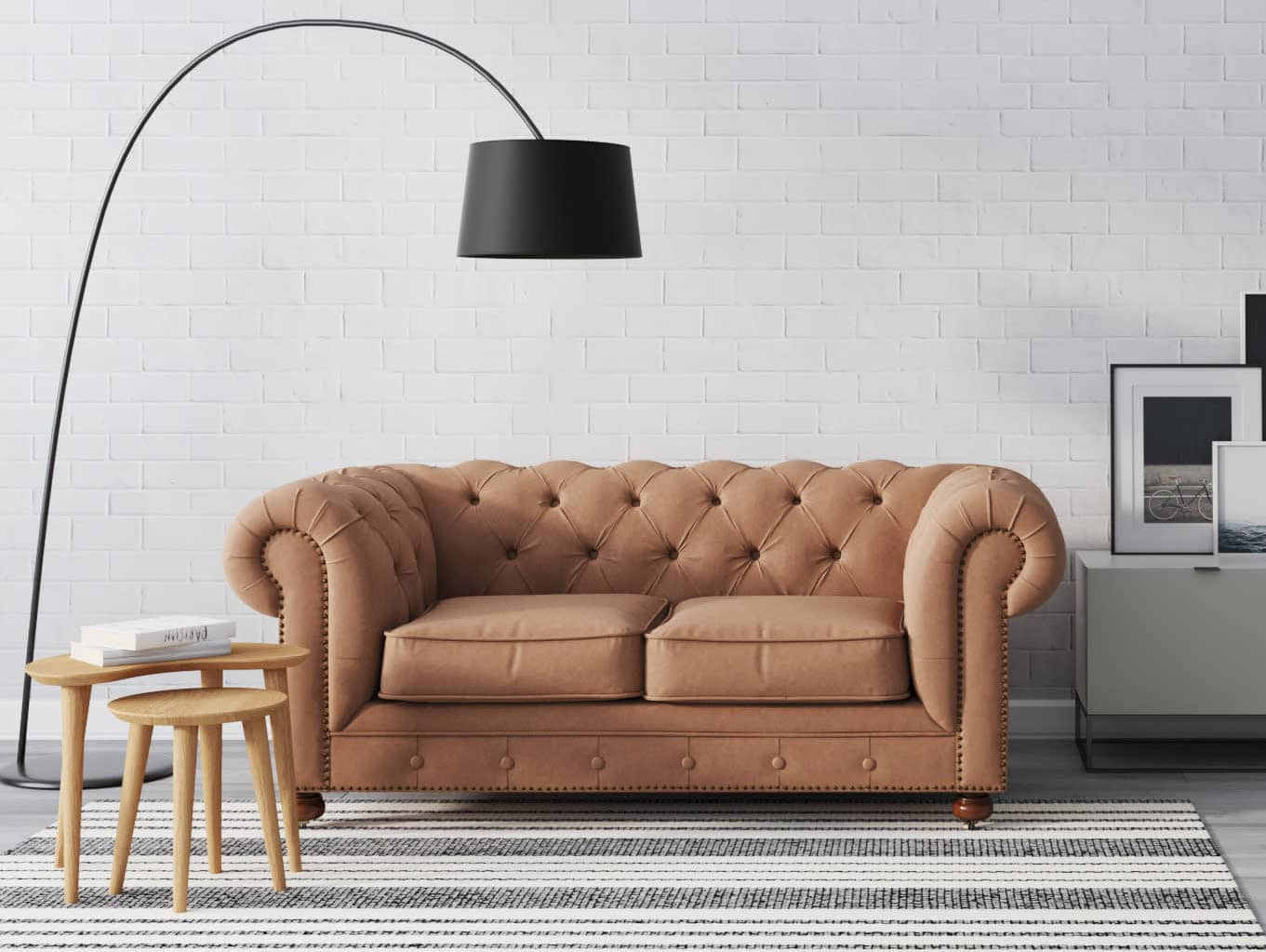brosa camden brown leather chesterfield sofa
