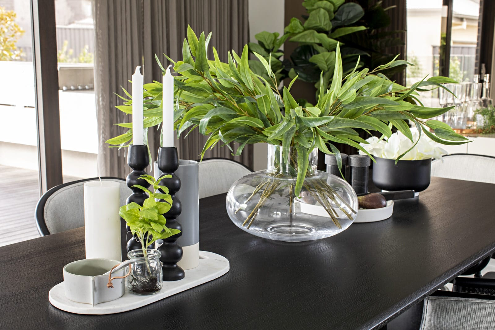 dining table centrepiece ideas greenery in centre of table luxe table stying metricon