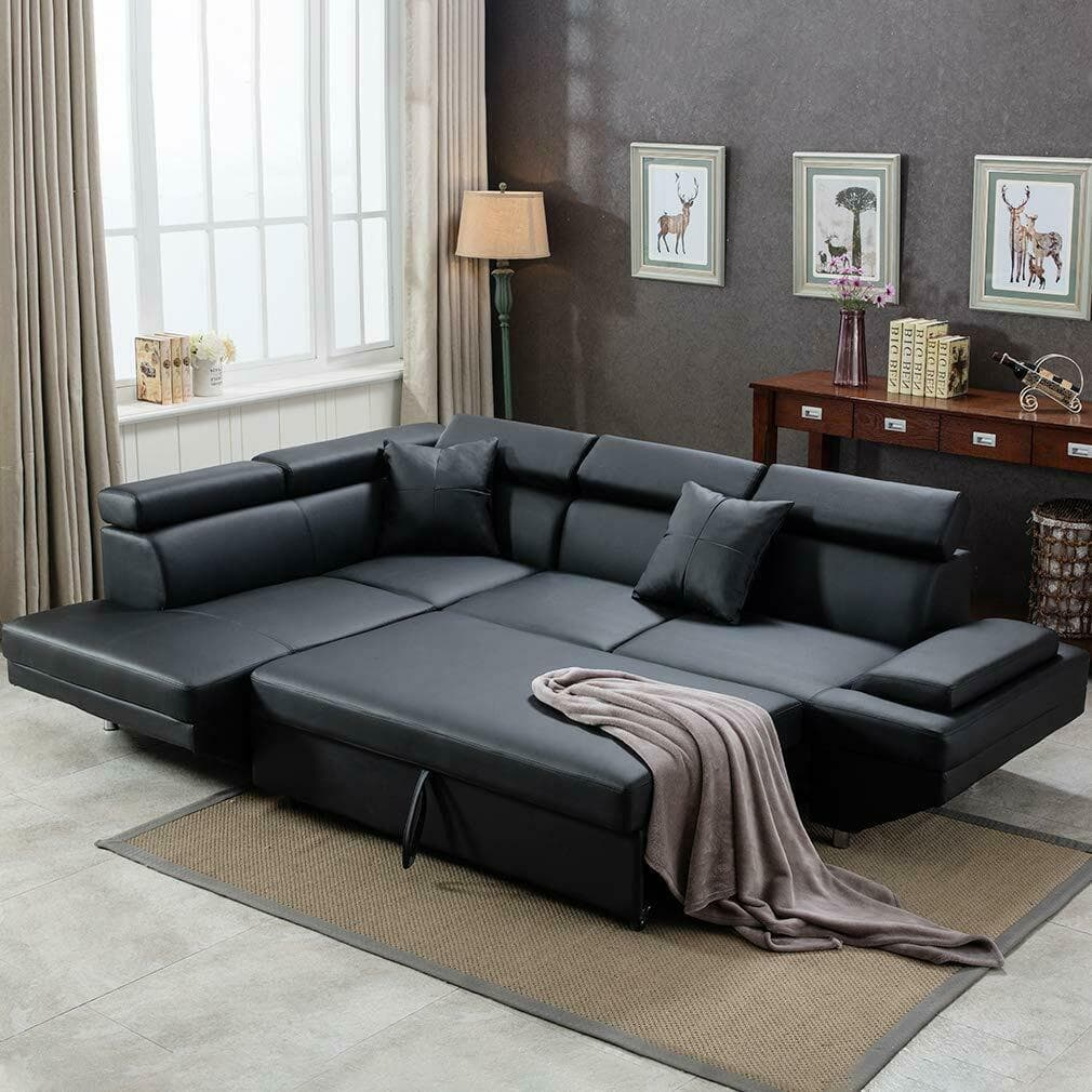 large black leather sectional sofa from ebay in living room