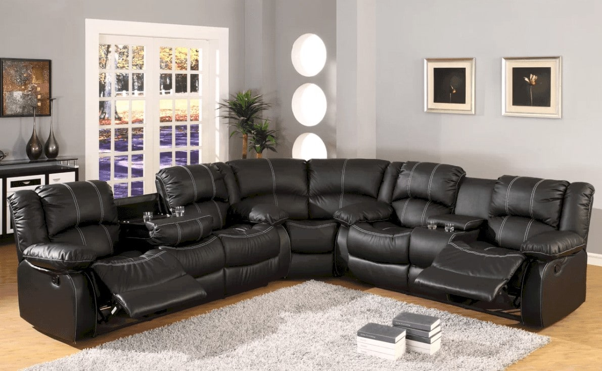 large black leather sectional sofa with recliners