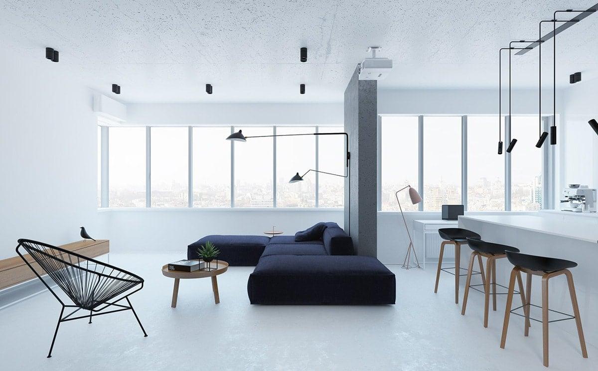 minimalist living room with no rug interior design ideas