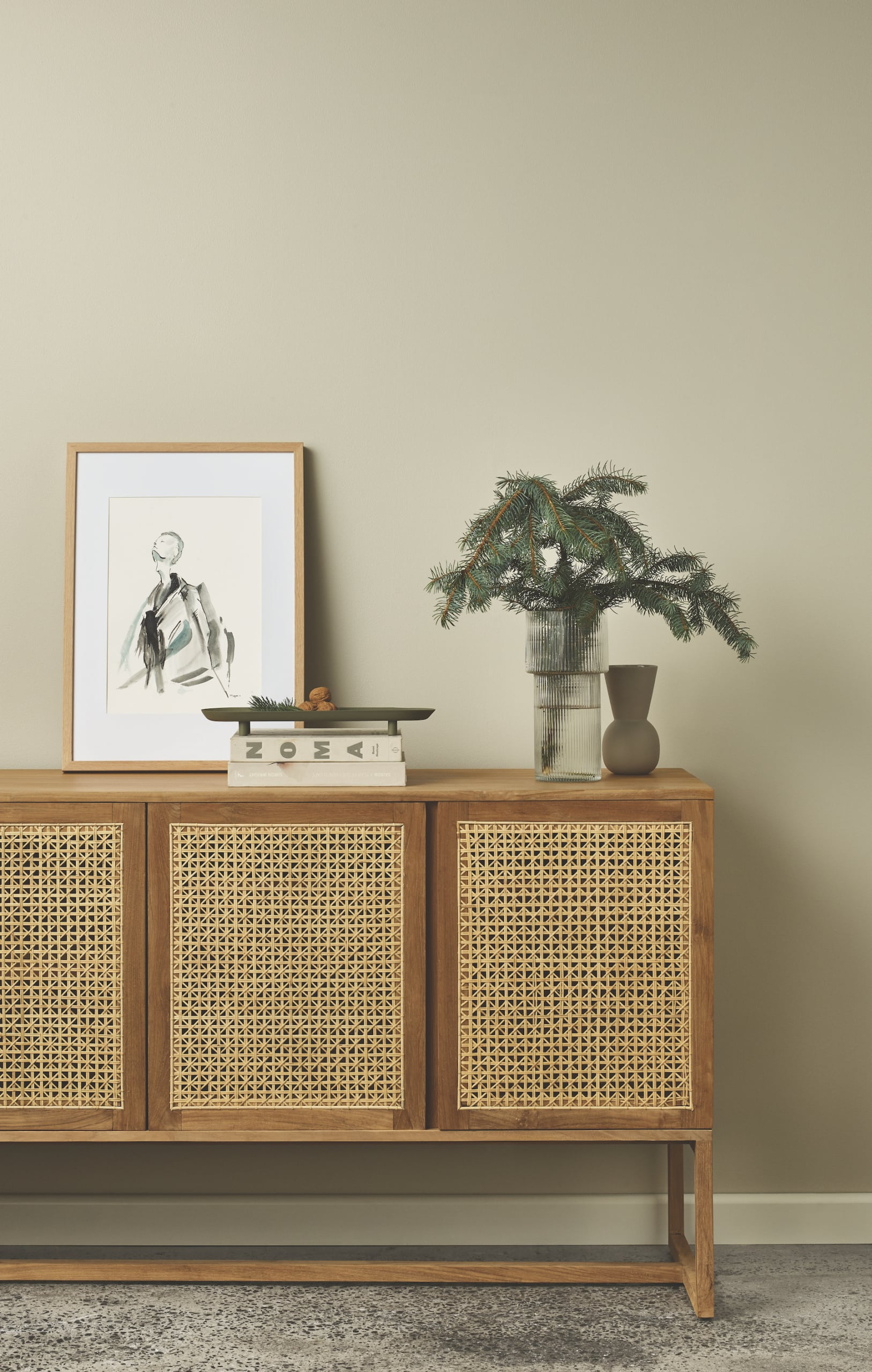 porters paint colors volcanic ash green feature wall with rattan sideboard