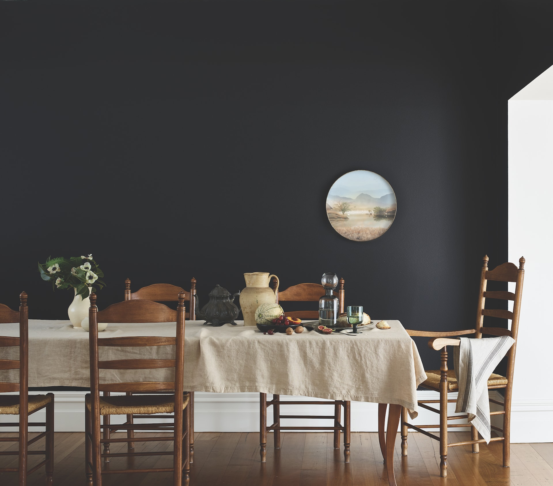 porters paint colours aniseed black dining room wall with vintage furniture