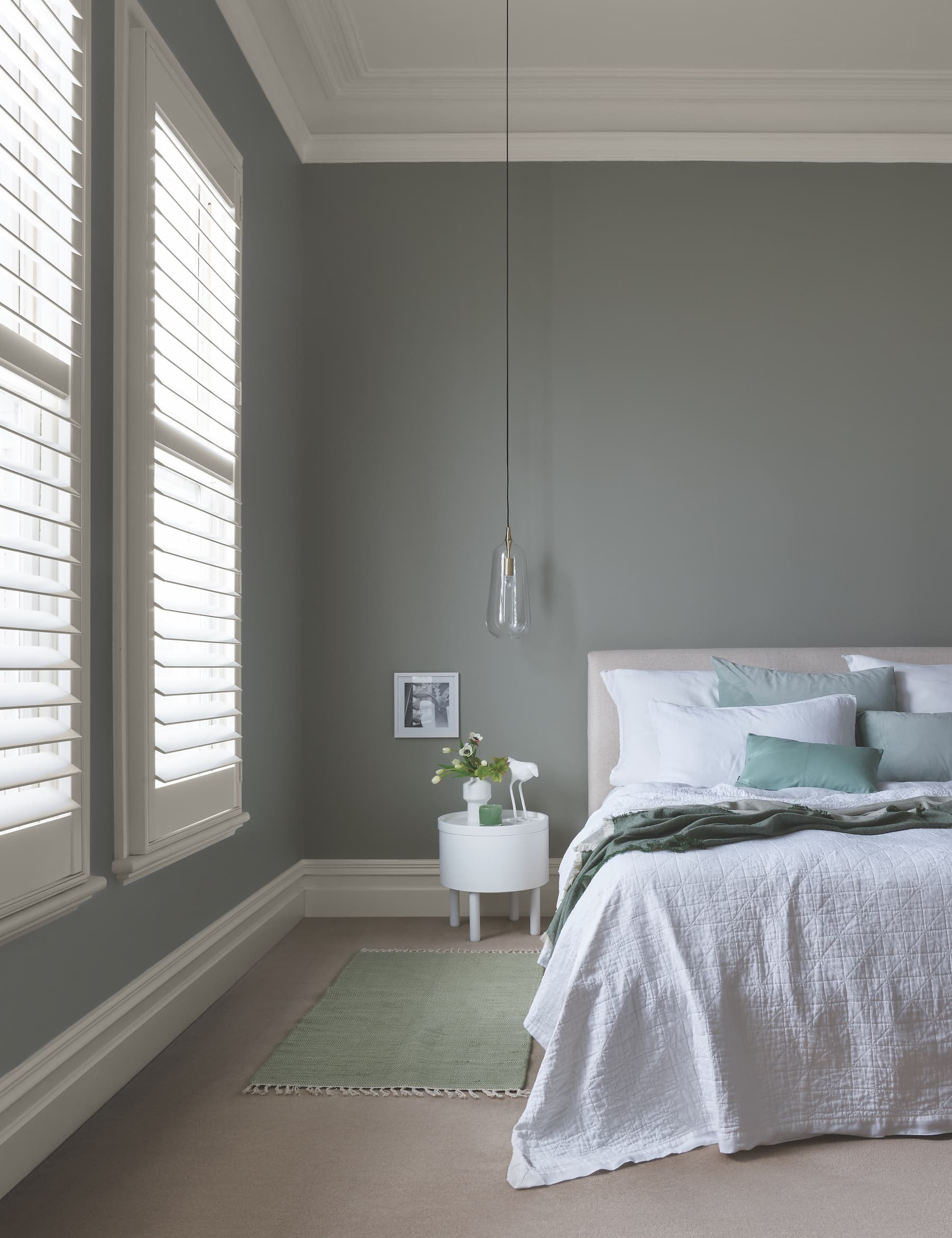 porters paint colours french green soothing bedroom with soft green wall white bedding