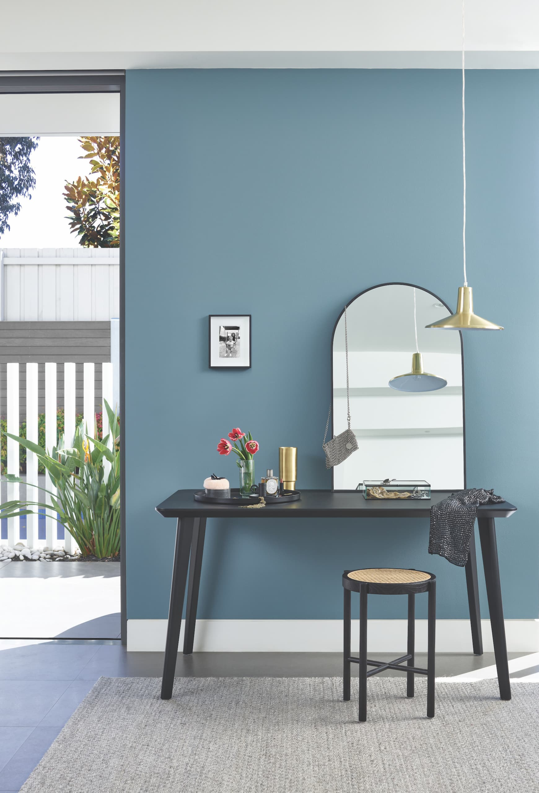 porters paint colours hamptons blue feature wall dressing room
