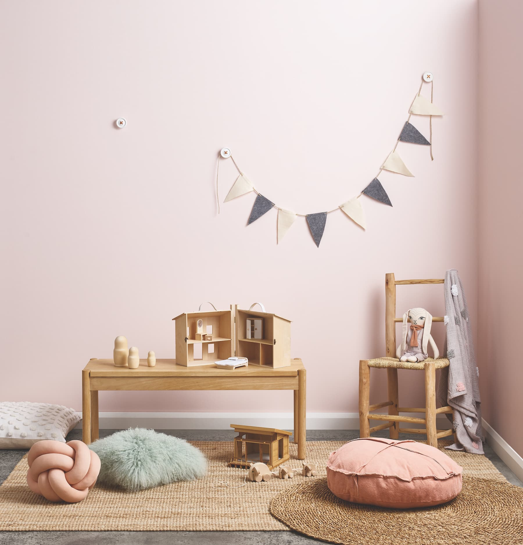 porters paint colours petal pink baby girls nursery with blond timber furniture