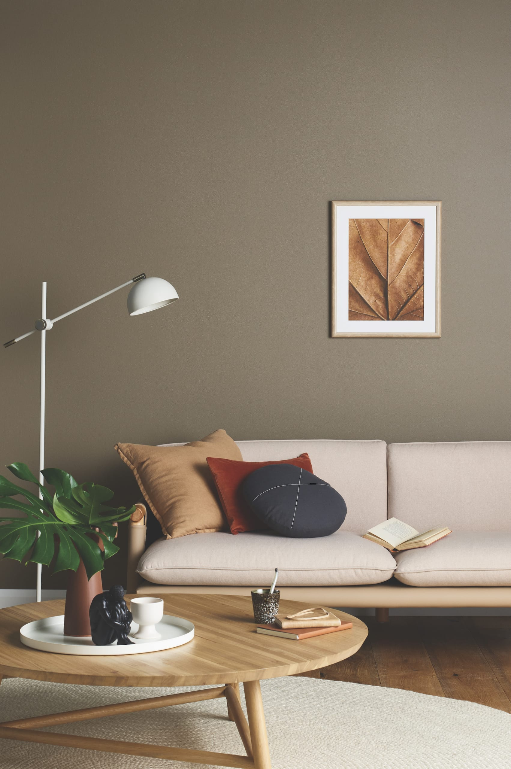 porters paint colours wet cement living room with brown feature wall