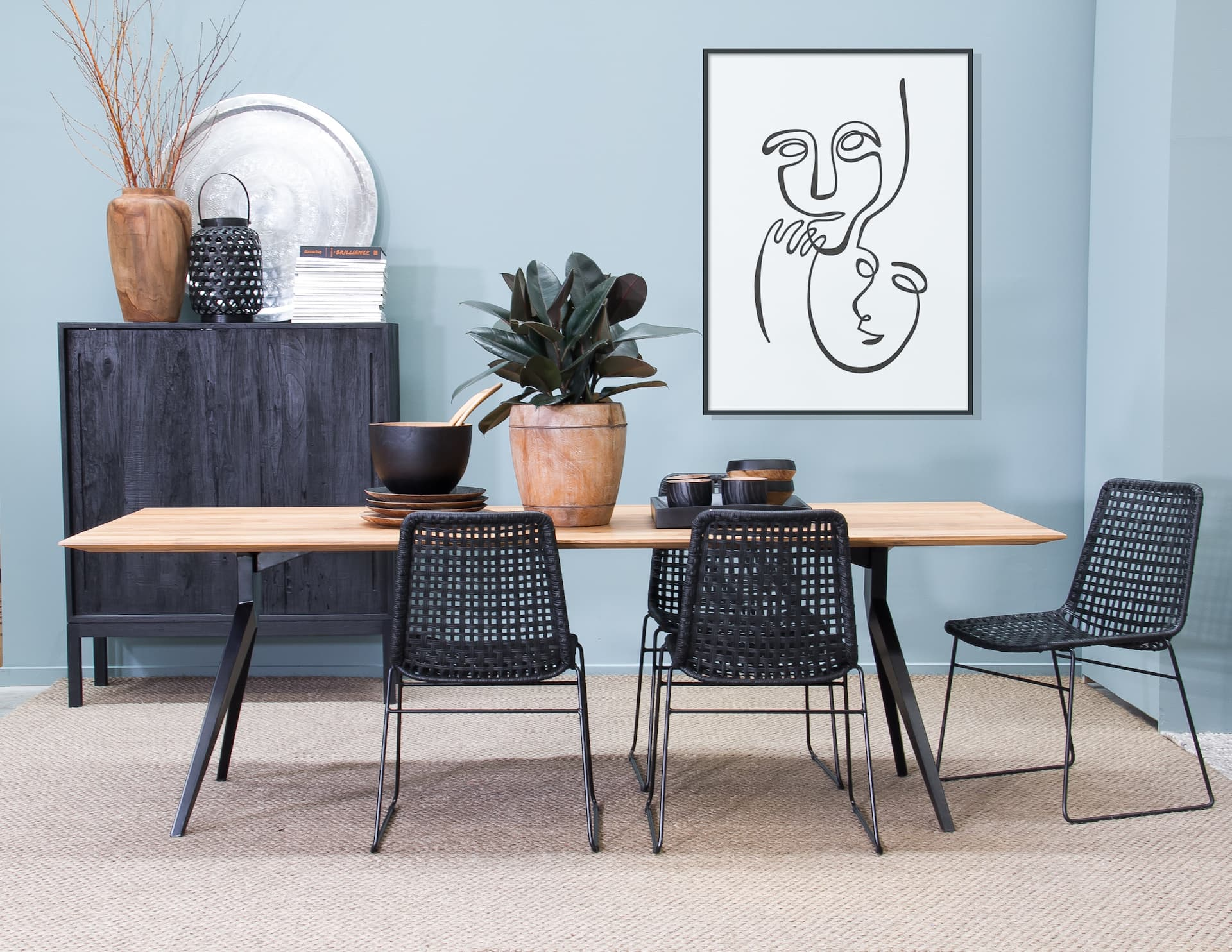 satara dining table styling rectangle dining table styled with plant