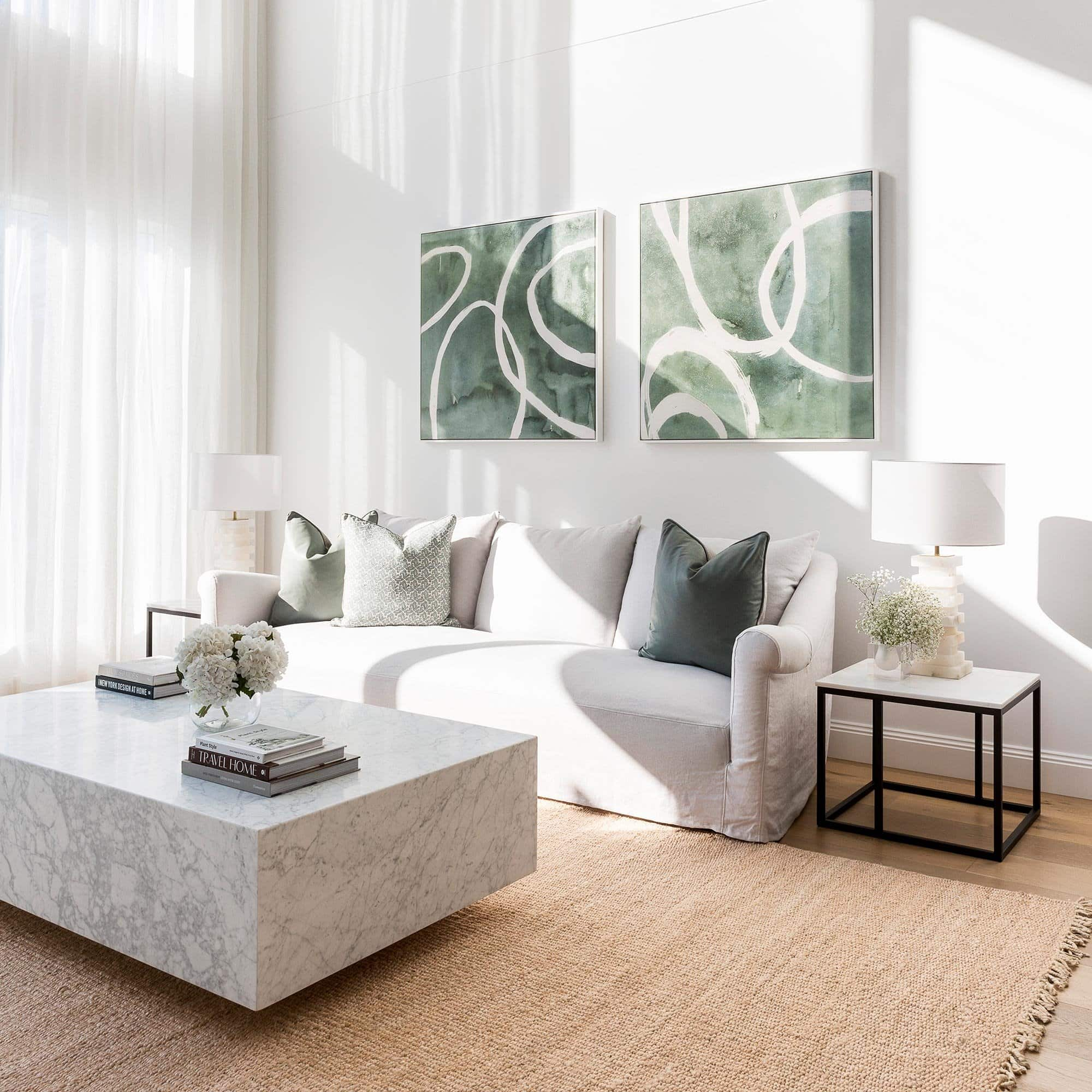 sitchu square marble block coffee table in luxe living room