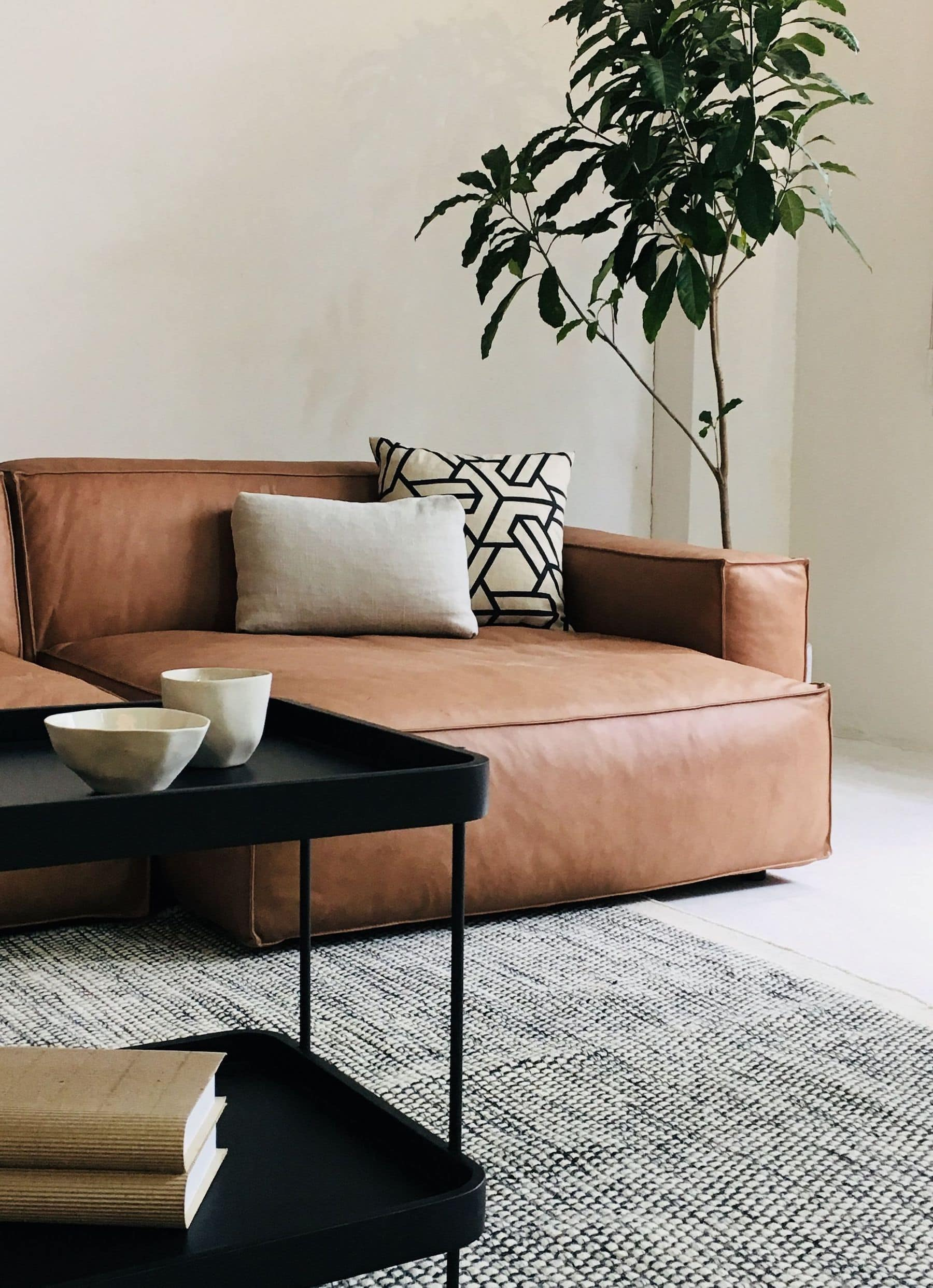 trit house miller brown leather sofa with low profile