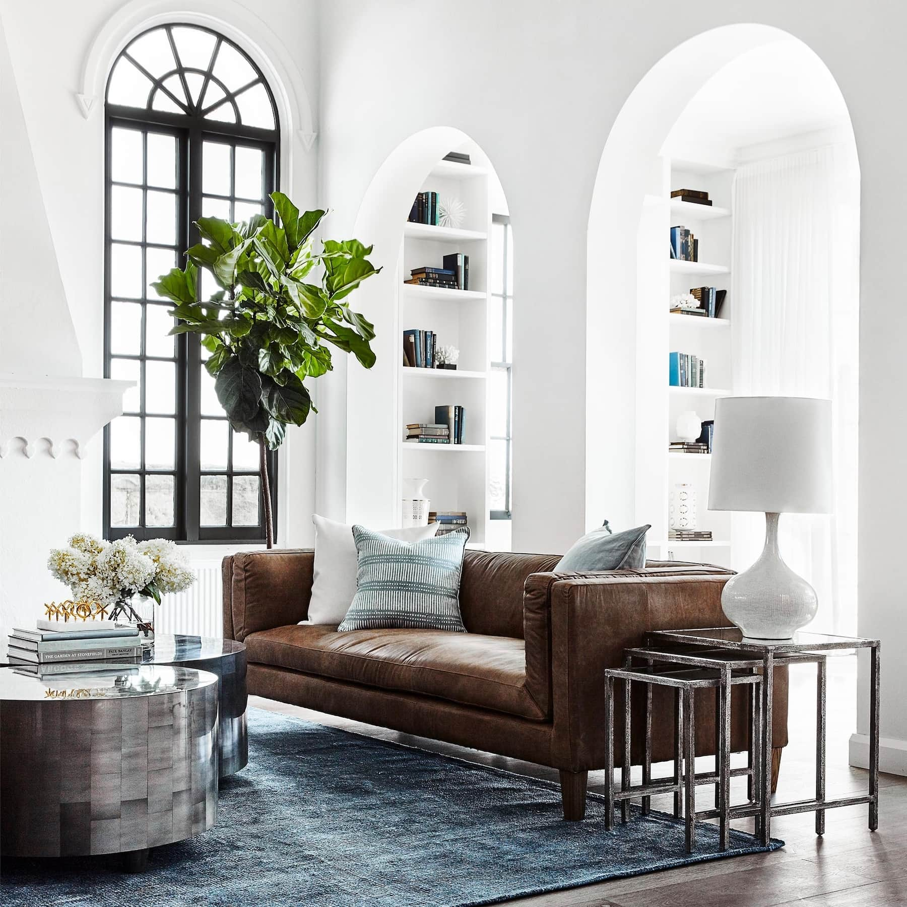 vittoria brown leather sofa coco republic luxe living room
