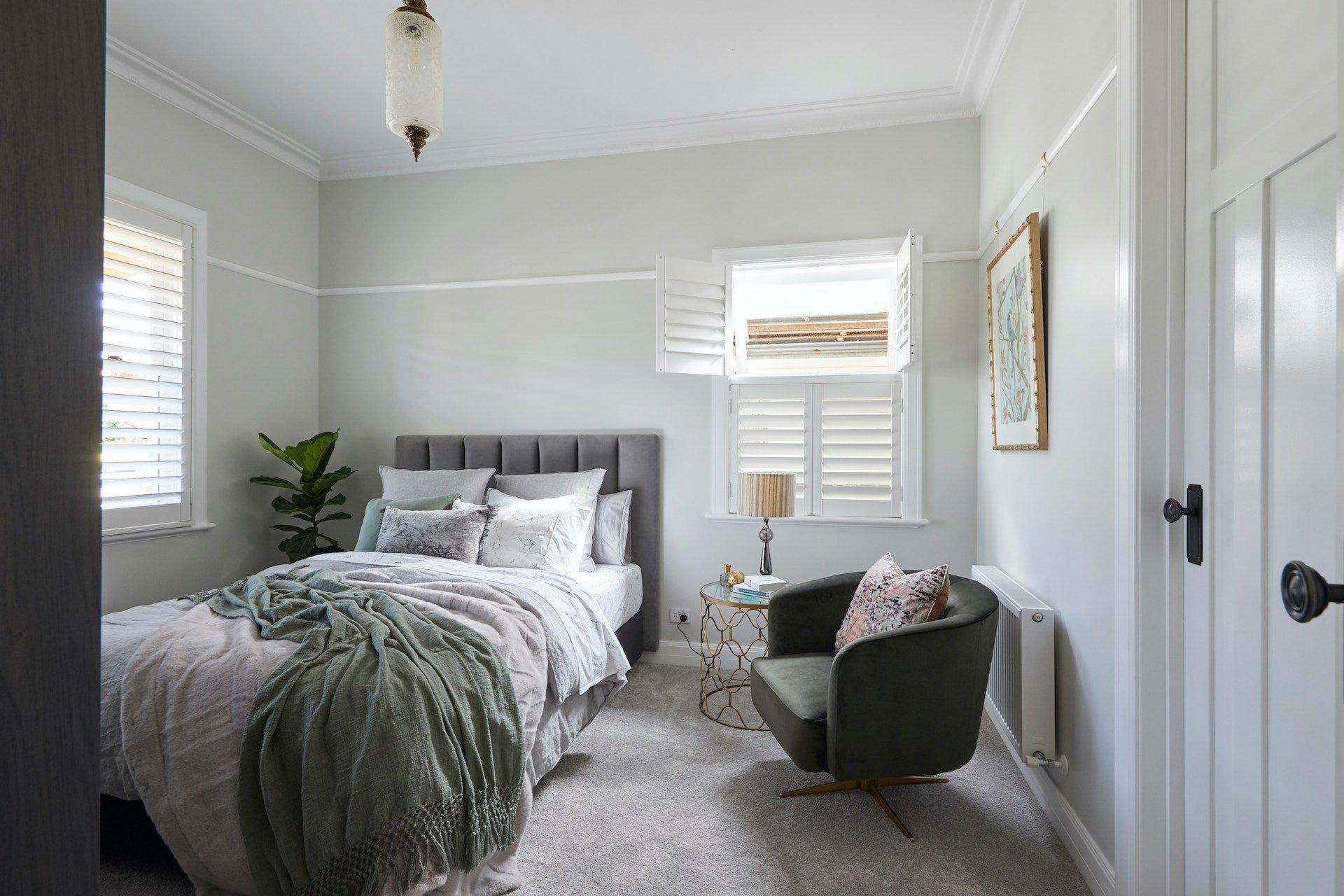 The Block 2020 Daniel and Jade Guest Bedroom with grey headboard