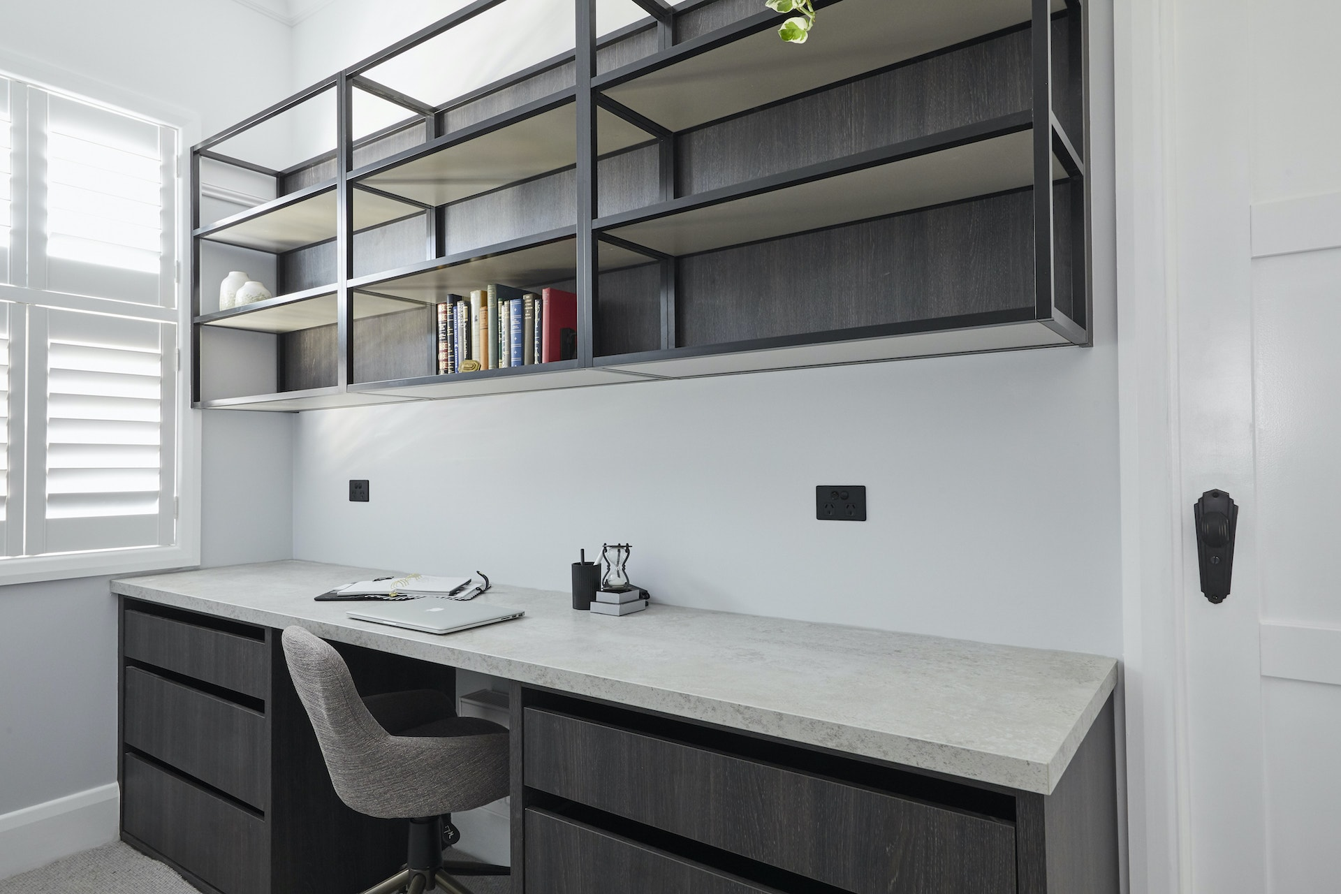 The Block 2020 George and Sarah Guest Bedroom built in office with black shelf