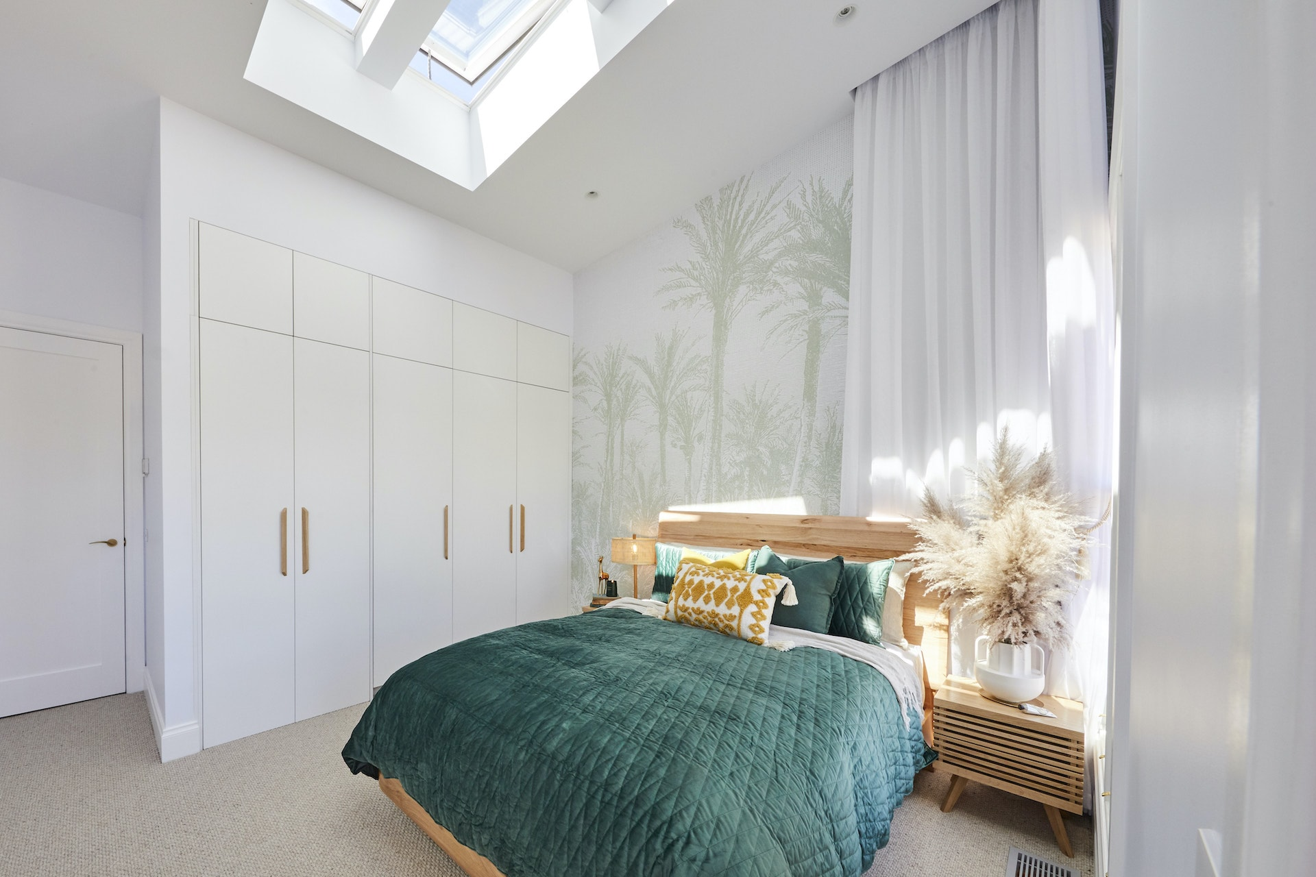 The Block 2020 Jimmy and Tam Guest Bedroom with blonde timber bedroom suite and green bedding