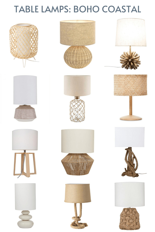 coastal boho table lamps blonde timber base