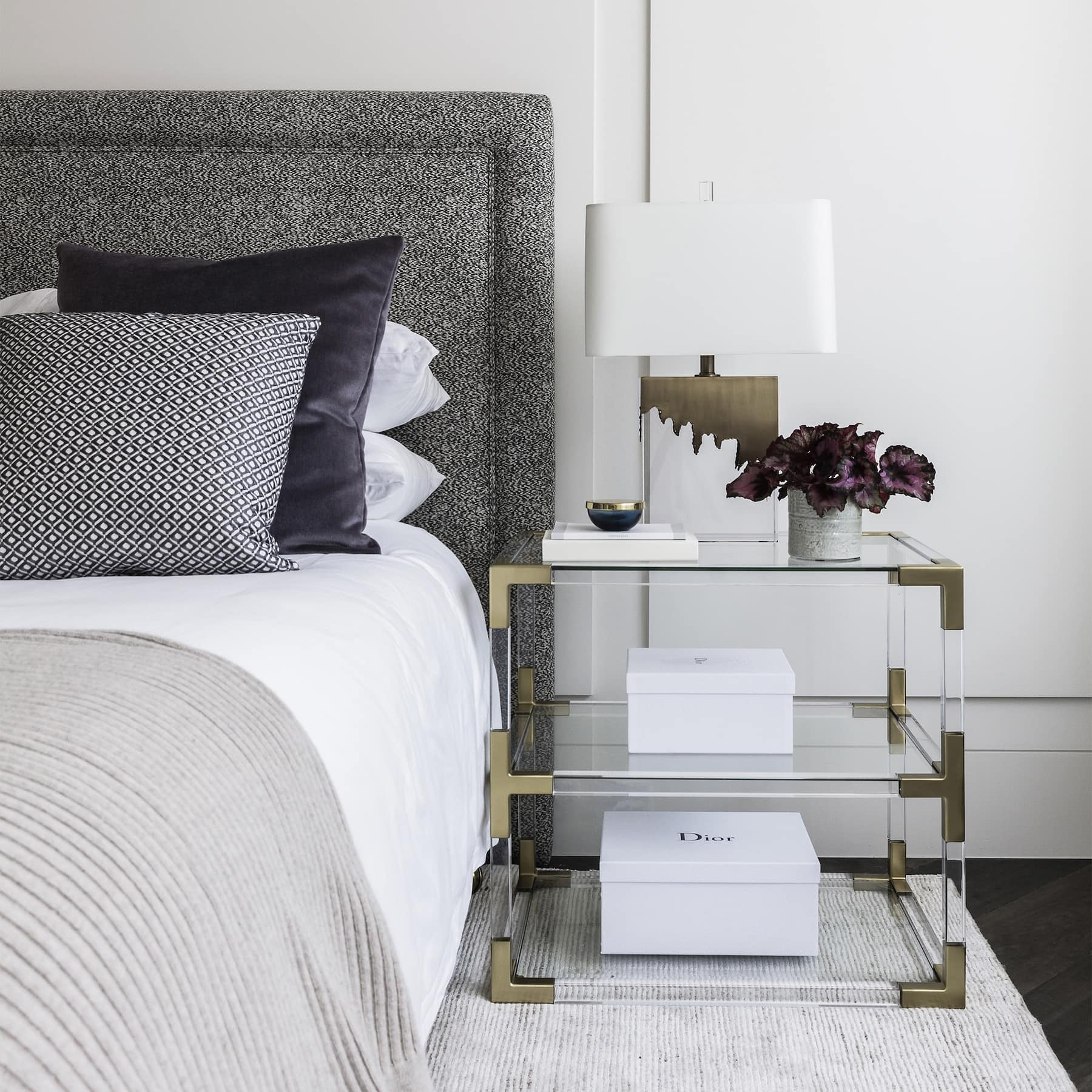 coco republic brass table lamp in chic minimal luxe bedroom