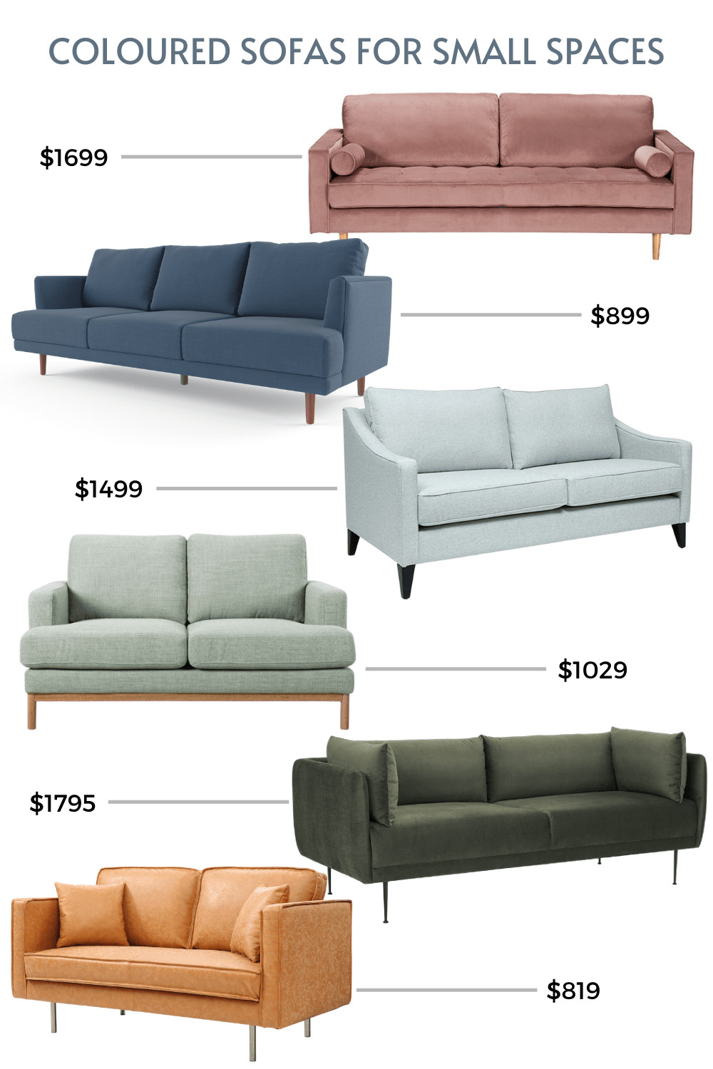 coloured sofas for small spaces best small sofa mood board