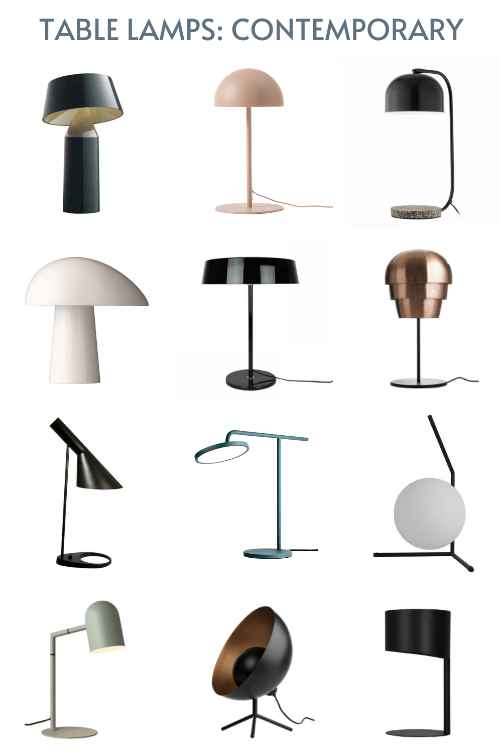 contemporary black table lamps