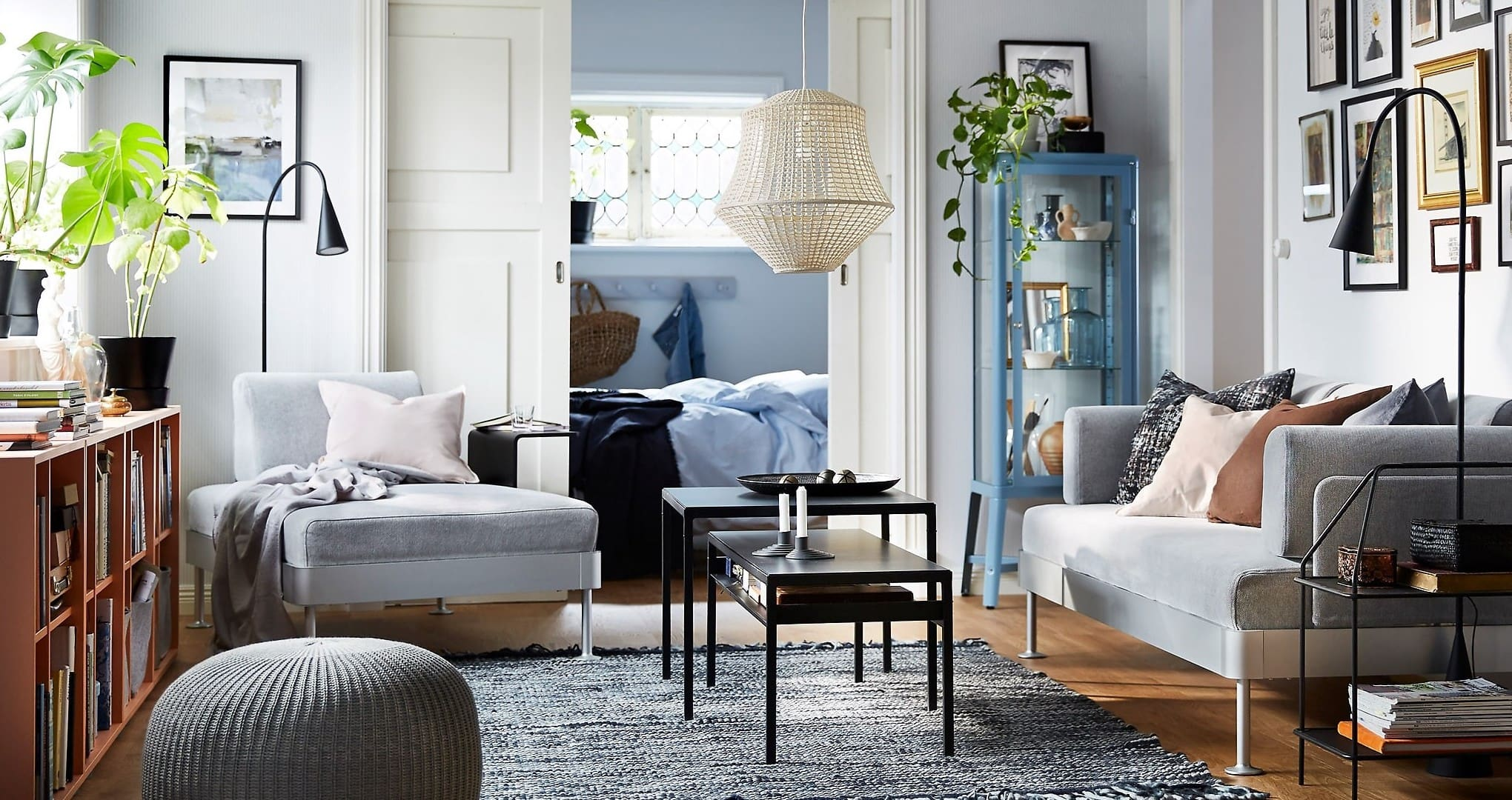 ikea living room styling with armchair and blue walls