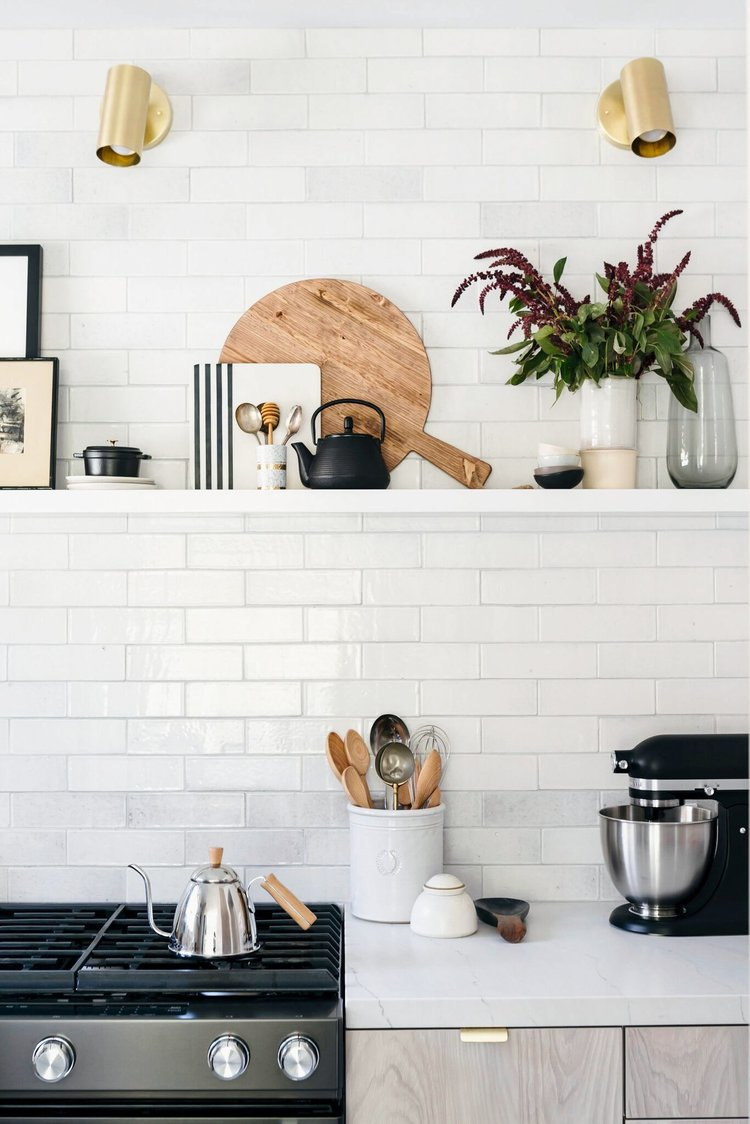 kitchen shelf styling ideas floating shelves with trays and kitchen decor