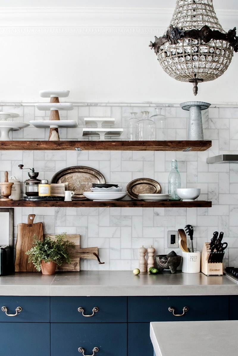 kitchen styling ideas rustic timber shelves in blue and white farmhouse kitchen