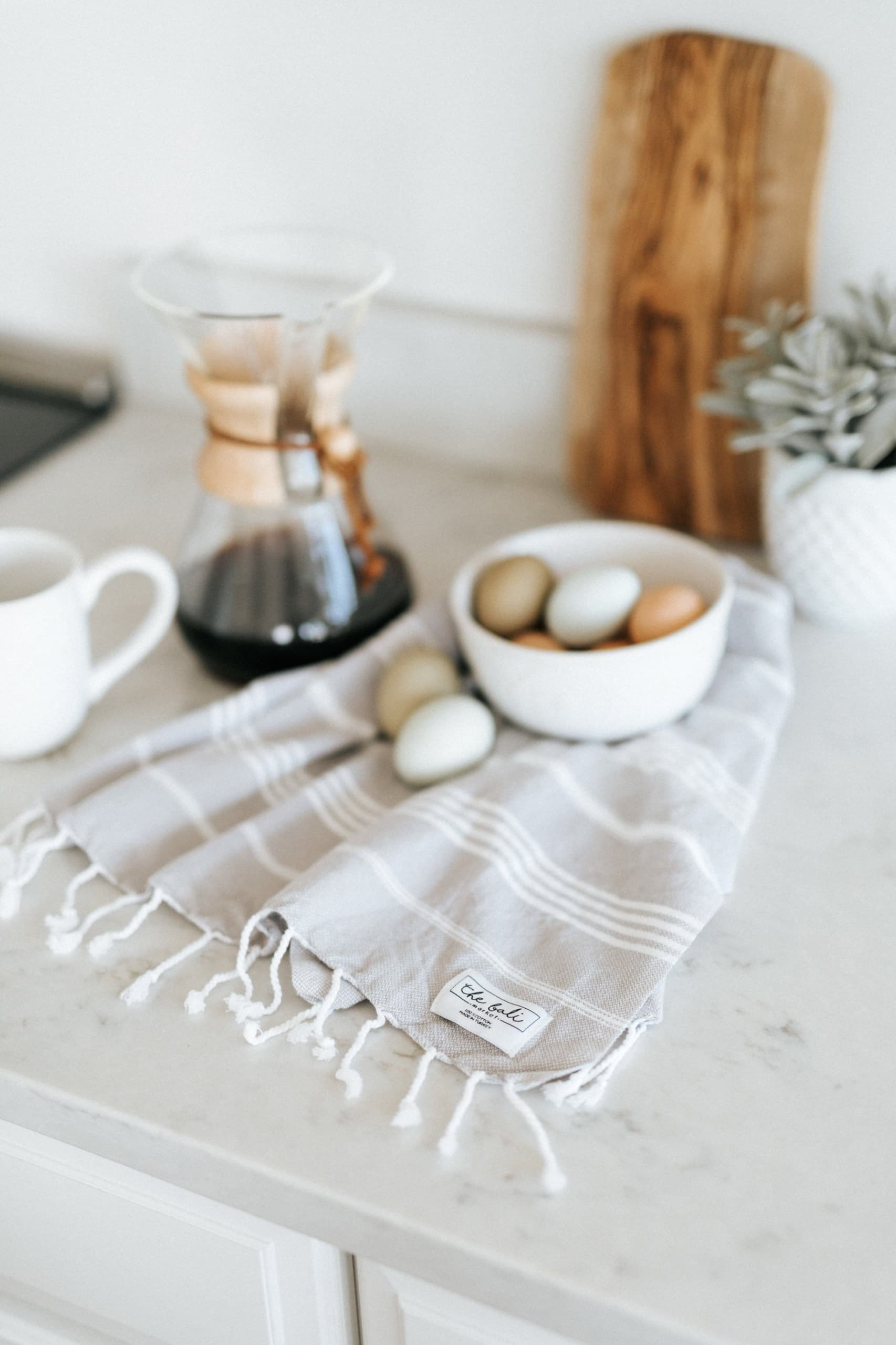kitchen tea towel styling grey and wipe stripe
