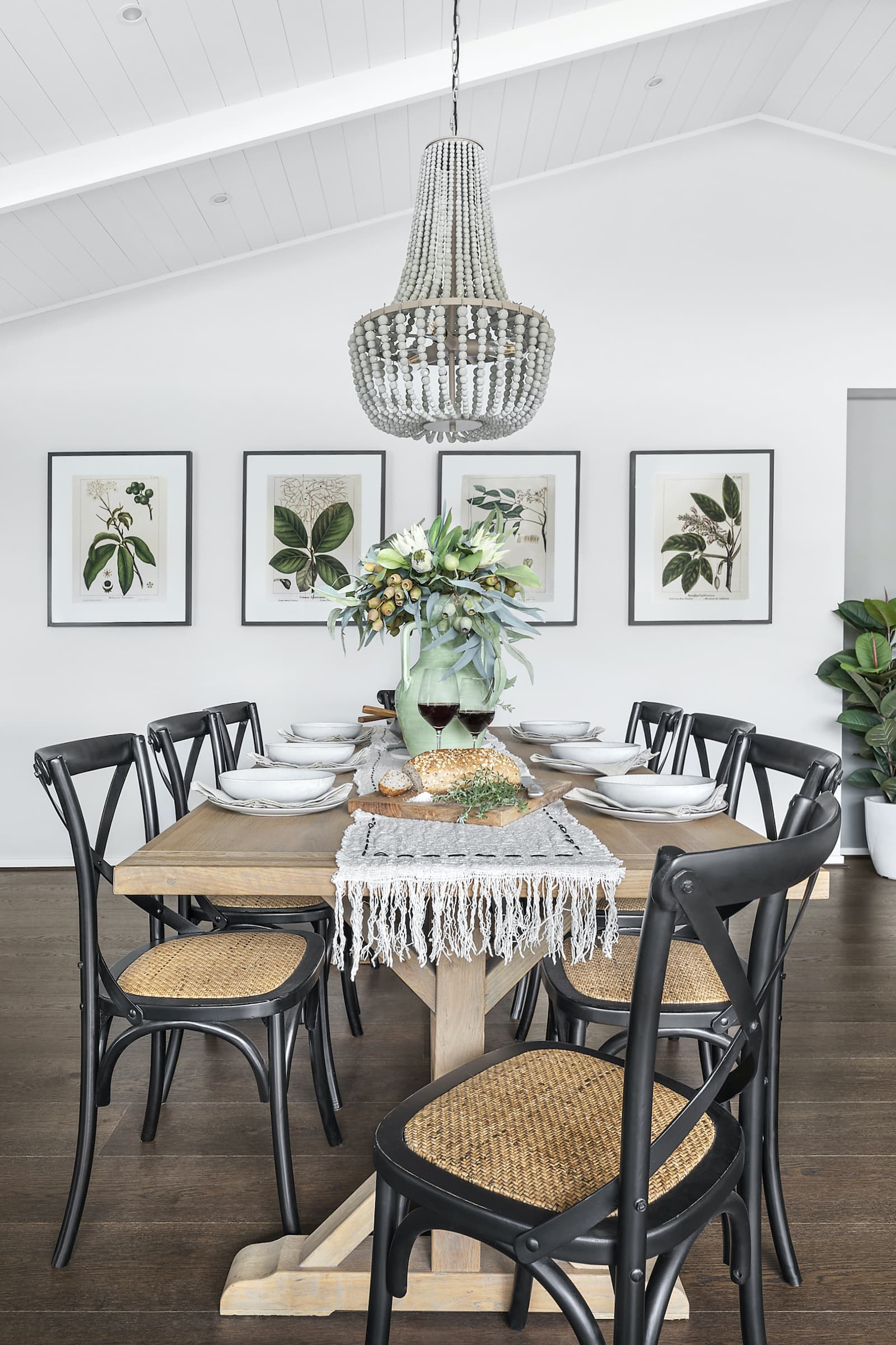 modern country dining room with clay pendant light over table metricon lookbook theme