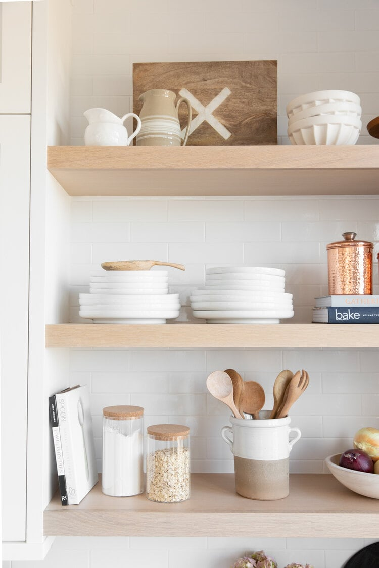 neutral kitchen shelf styling white bowls