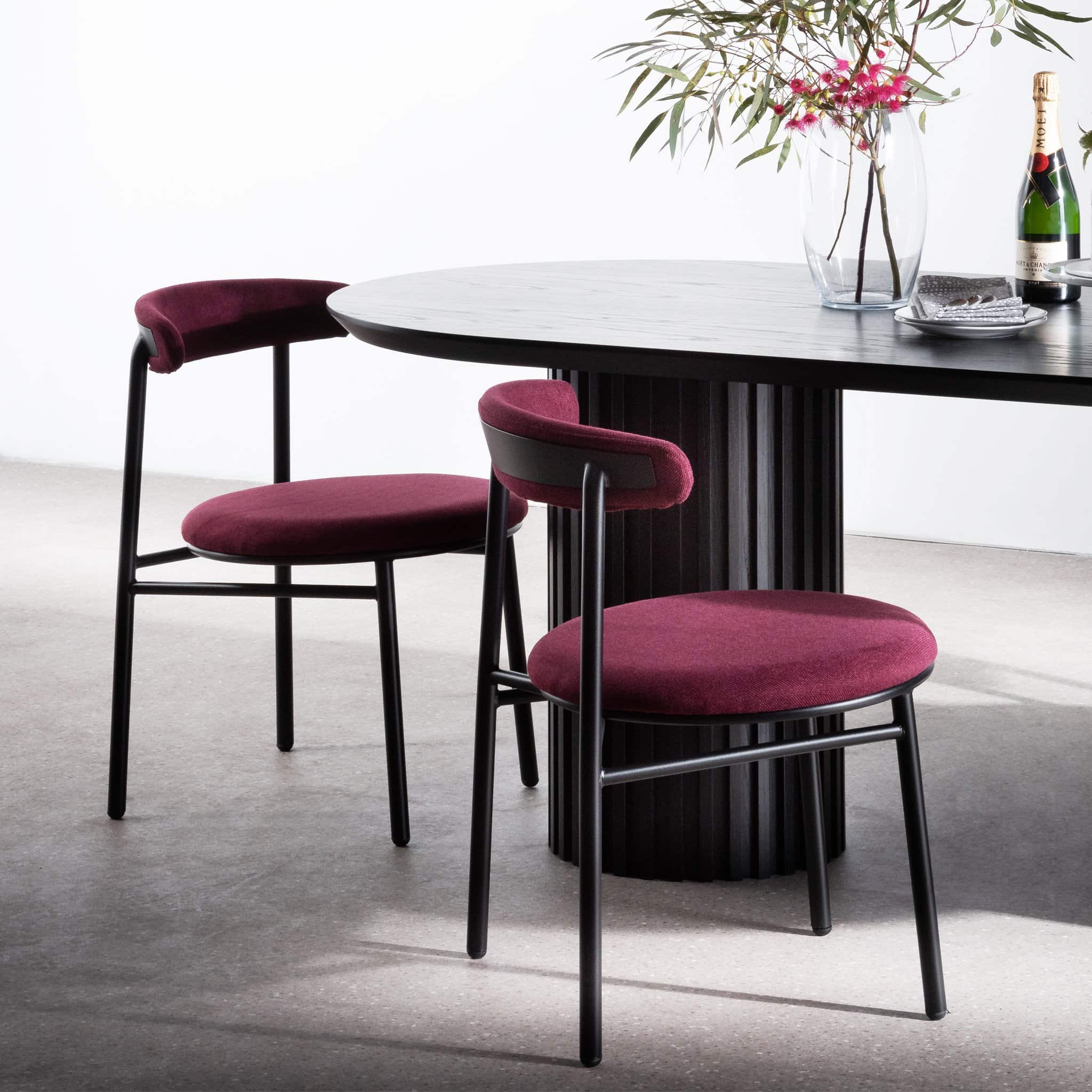 purple velvet dining chairs with black metal legs interior secrets modern luxe dining room