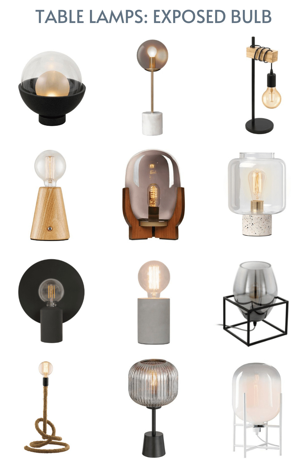 table lamps with exposed bulbs