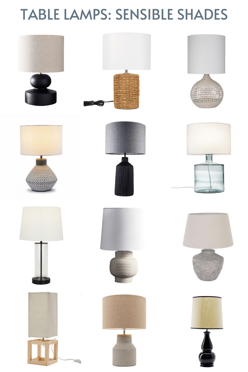 table lamps with round fabric shades