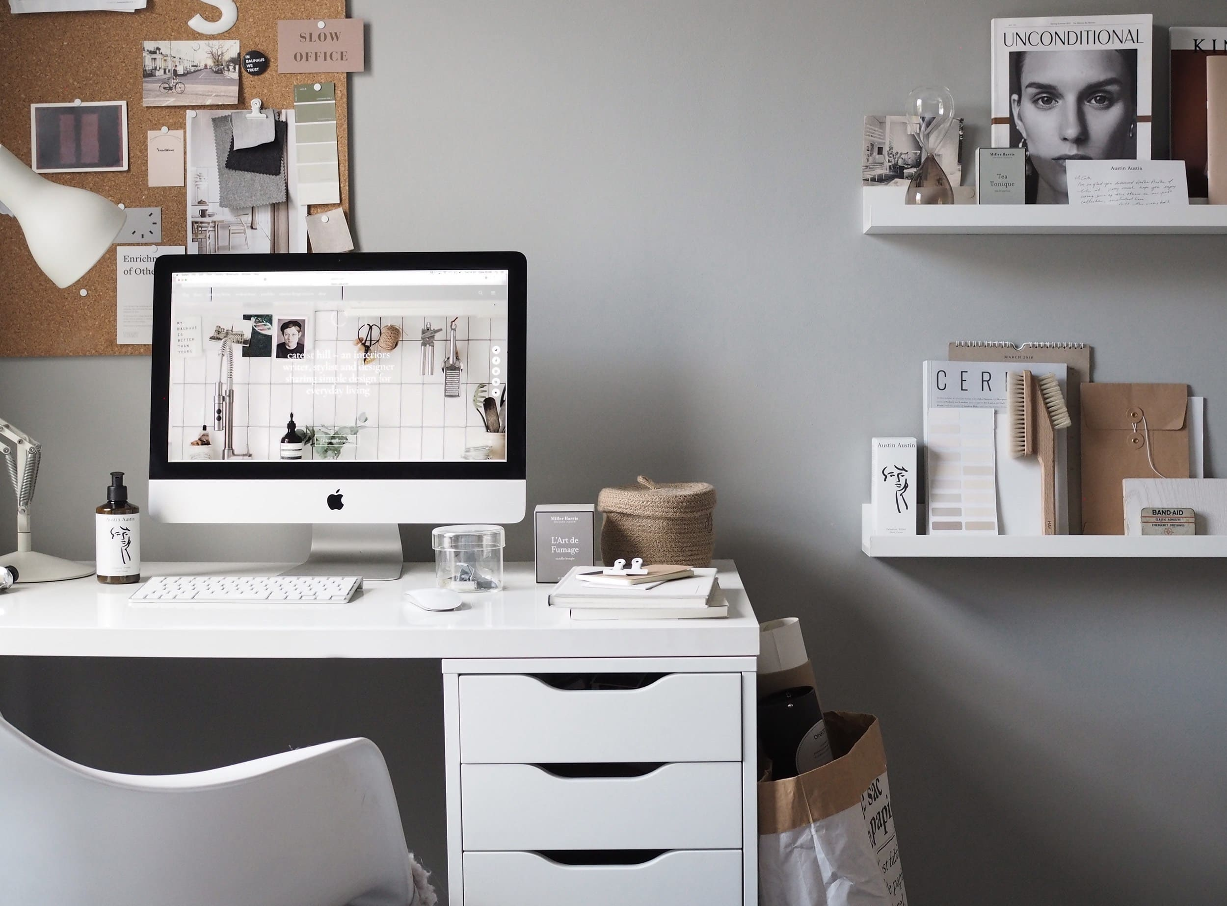 white and grey chic home office desk styling ideas