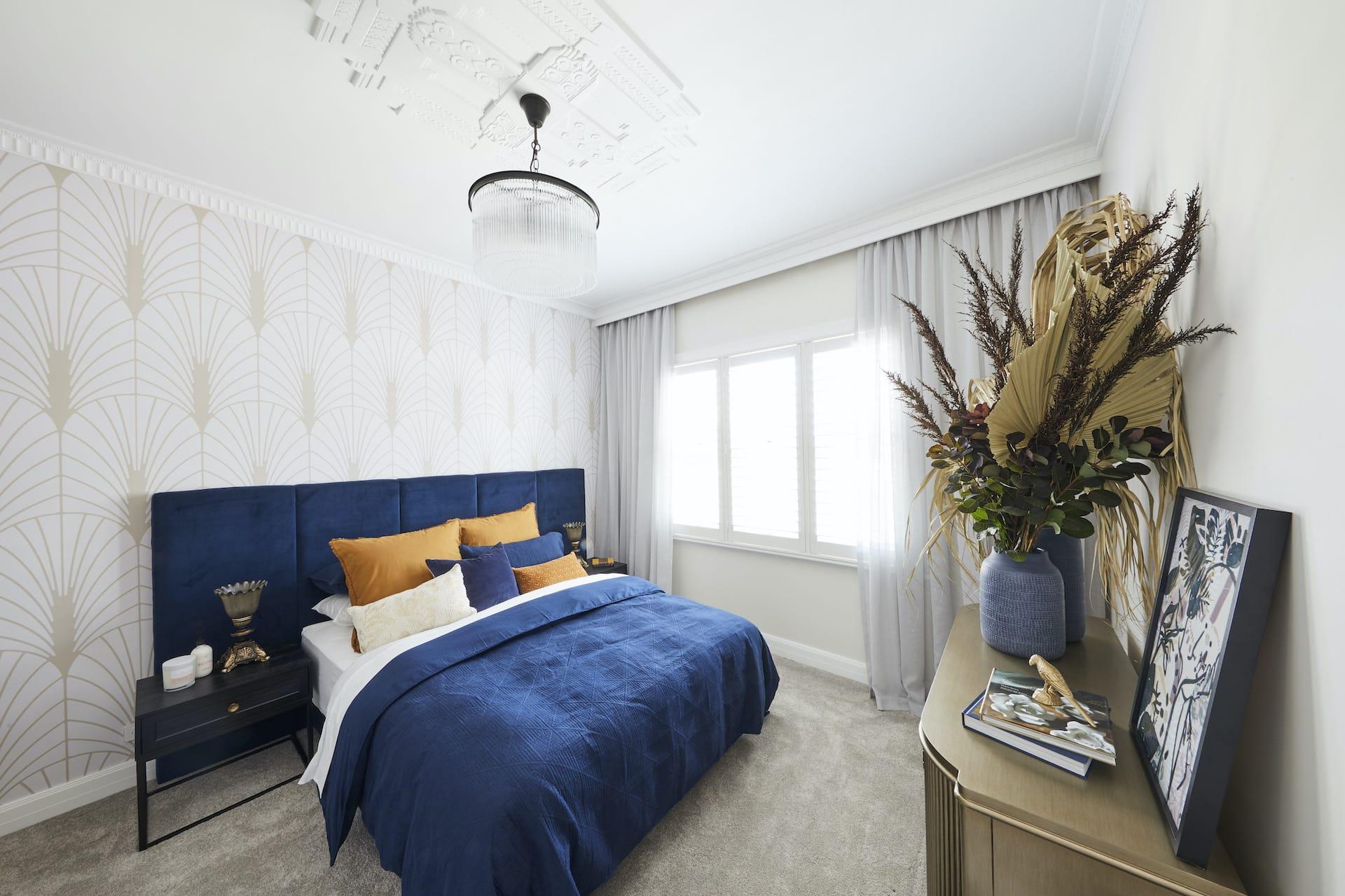 The Block 2020 master bedrooms daniel and jade fifties bedroom with art deco wallpaper and blue bed