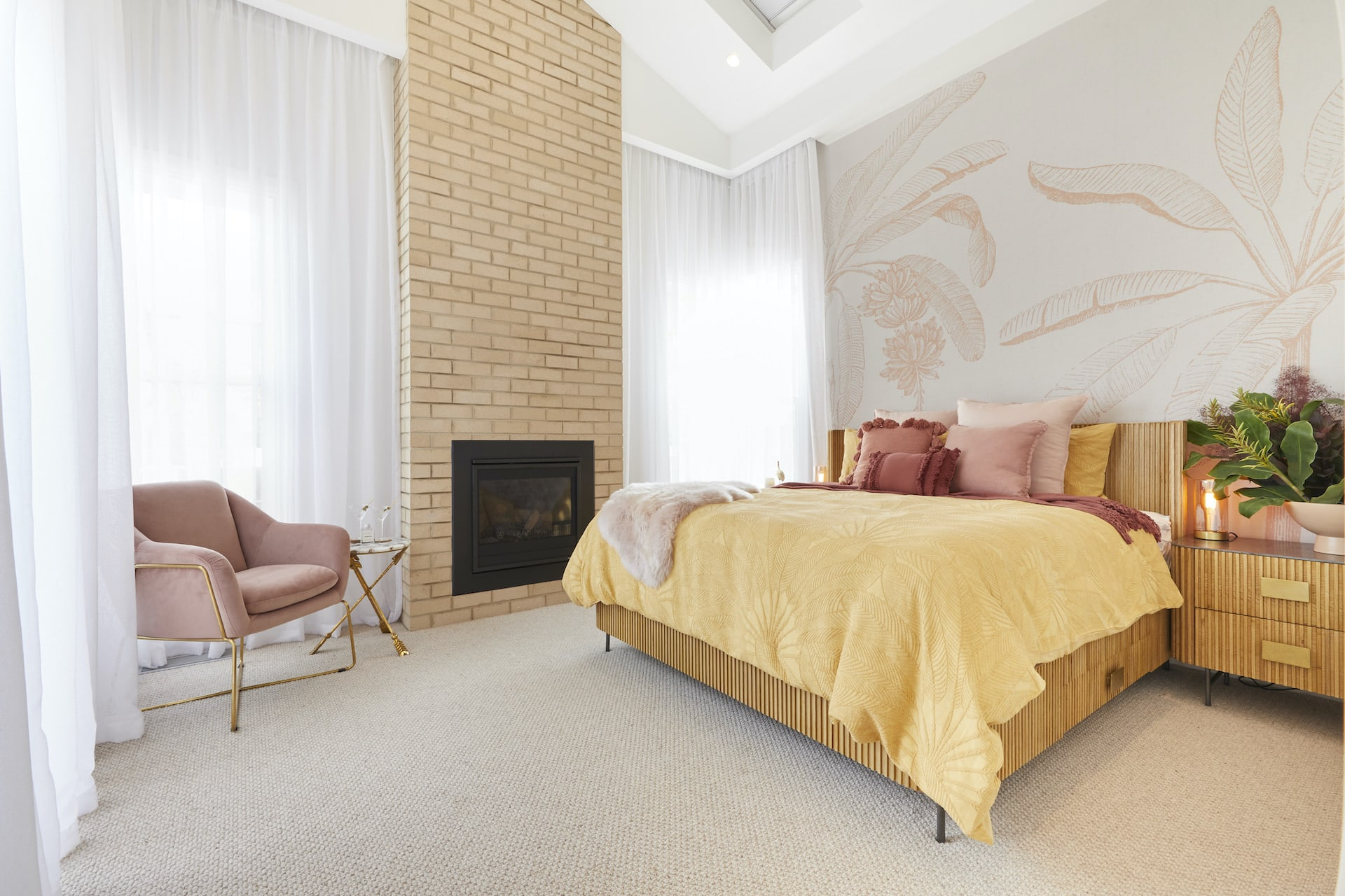 The Block 2020 master bedrooms jimmy and tam bedroom with brick fireplace and sheer curtains