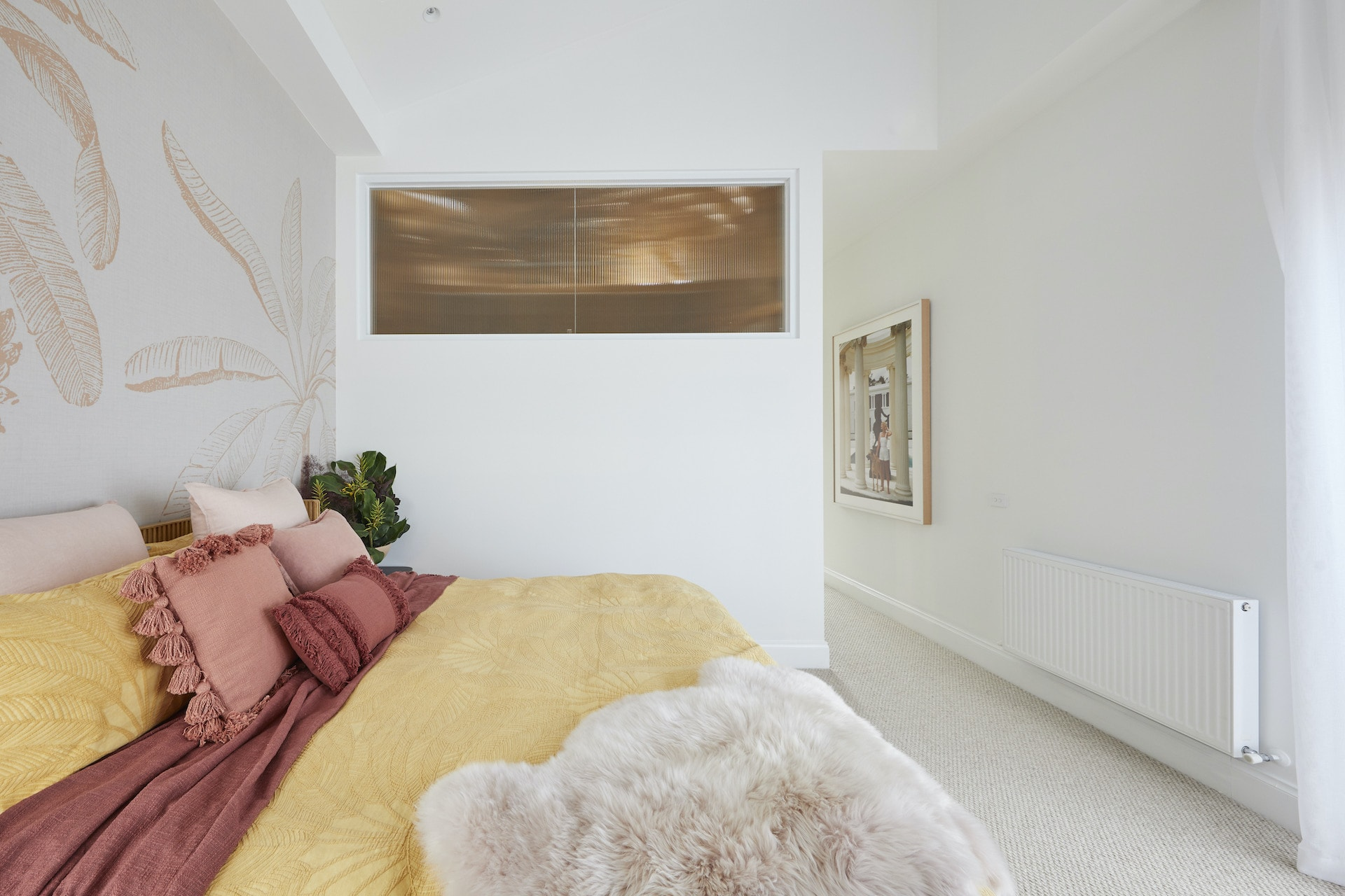 The Block 2020 master bedrooms jimmy and tam mustard bedding and pink cushions