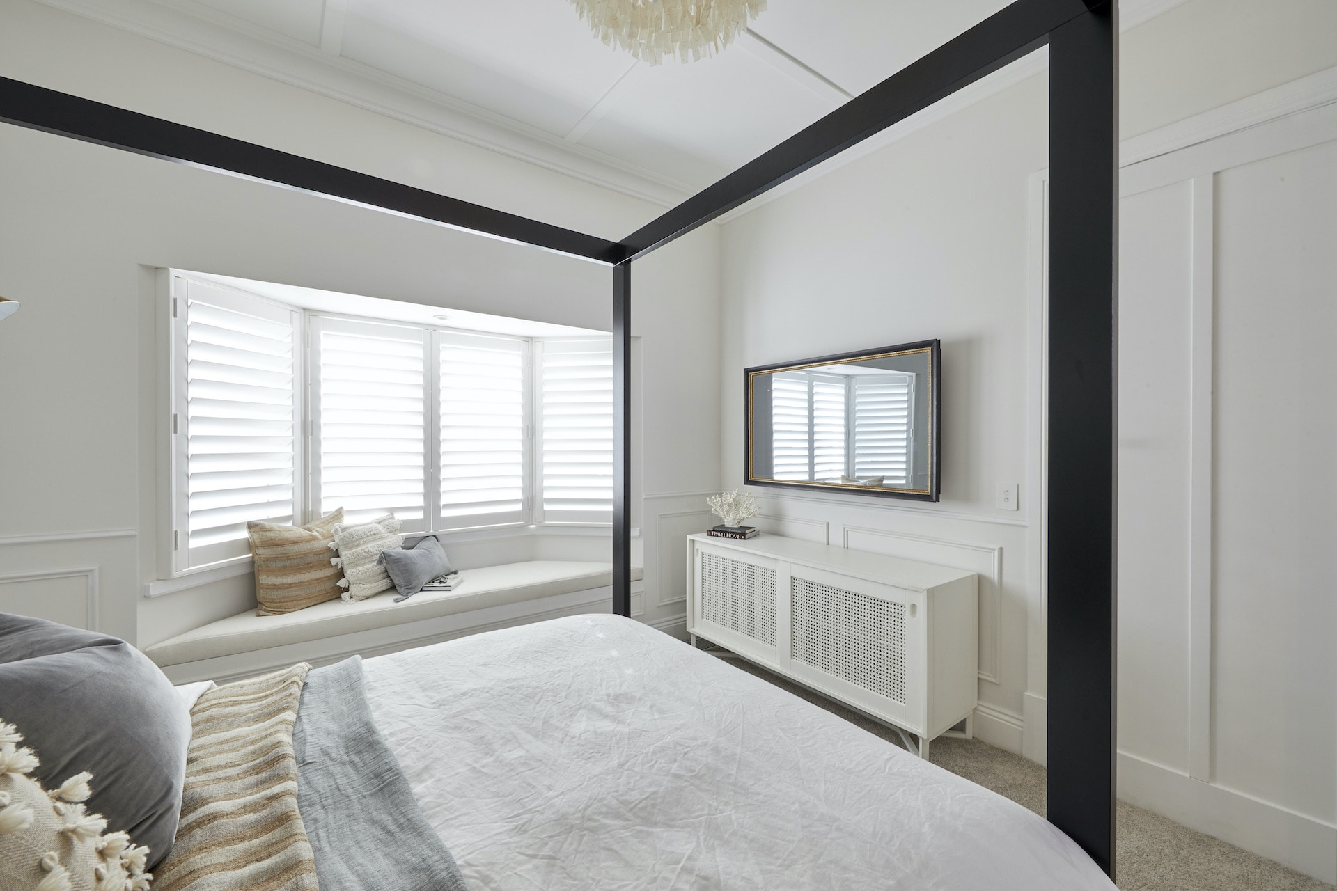 The Block 2020 master bedrooms juke and jasmine relaxed bohemian bedroom with four poster bed