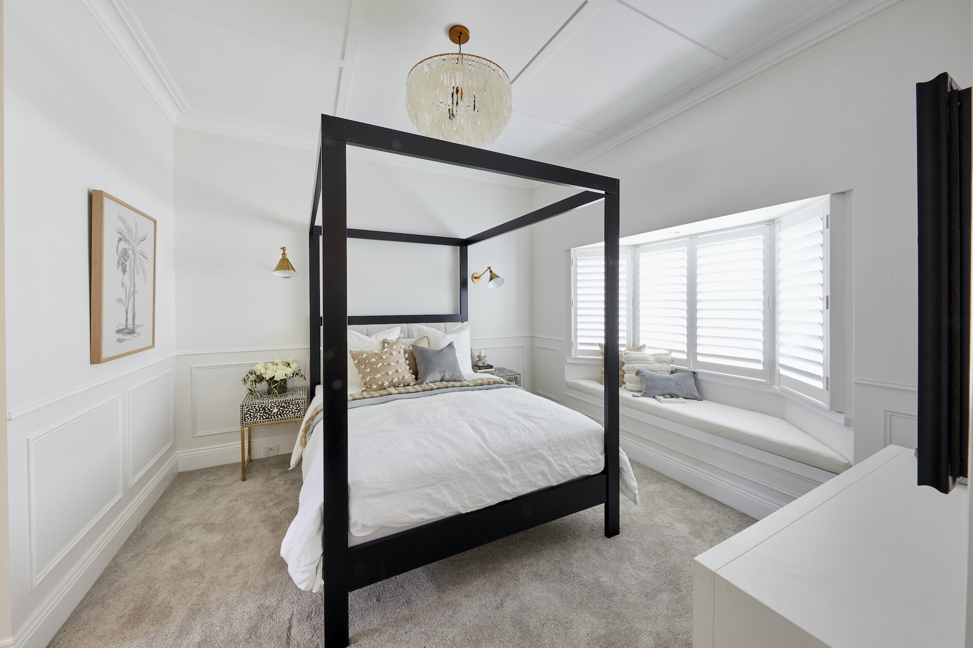 The Block 2020 master bedrooms luke and jasmin four posted bed black timber in white bedroom