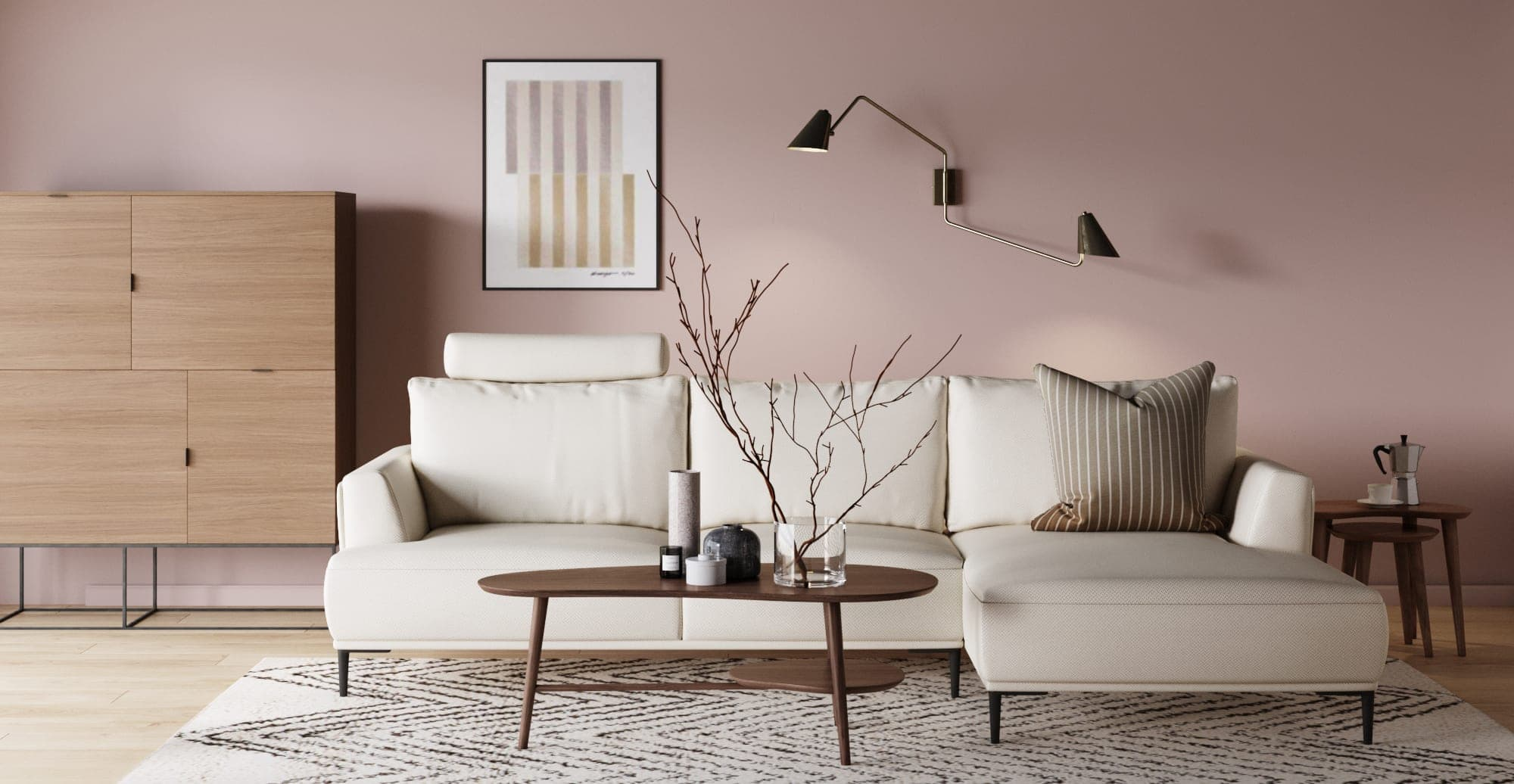 brosa como white sofa in pink living room with minimalist interior design