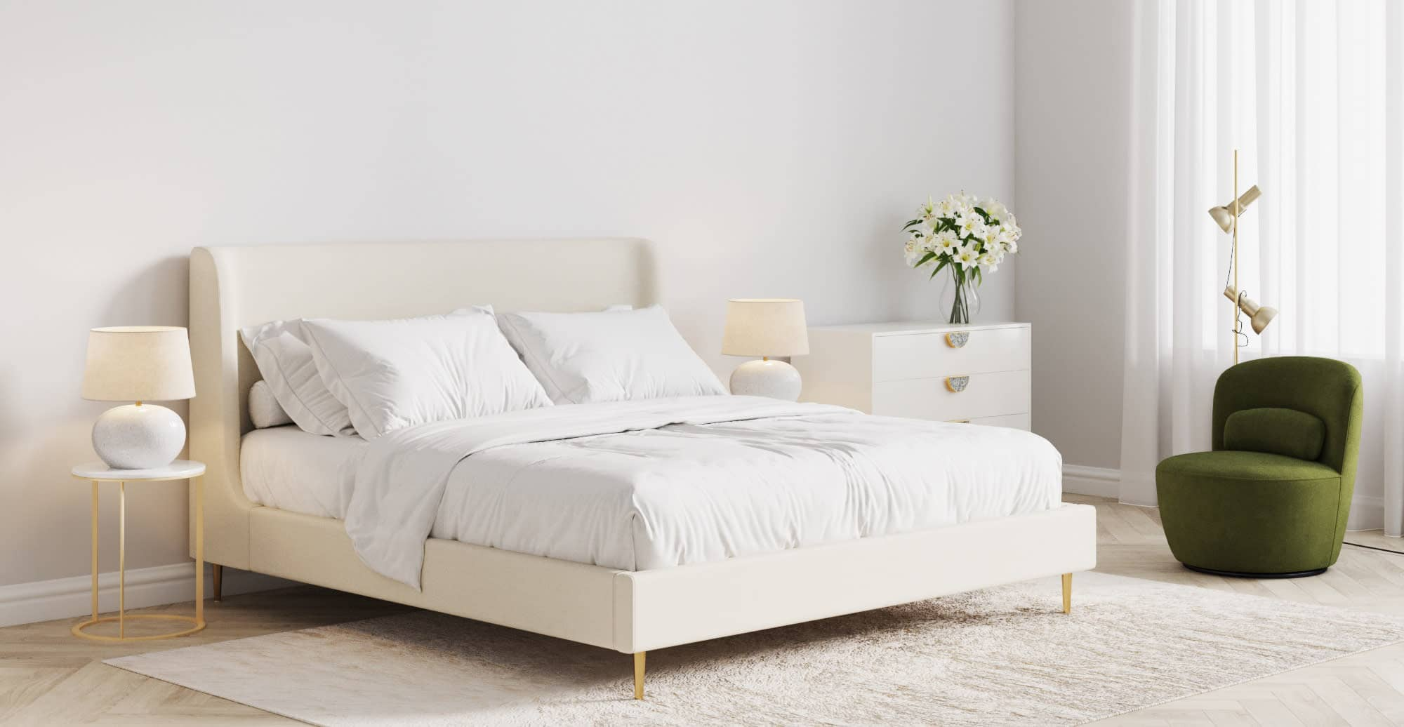 brosa gia bed in minimalist all white bedroom with round marble side tables