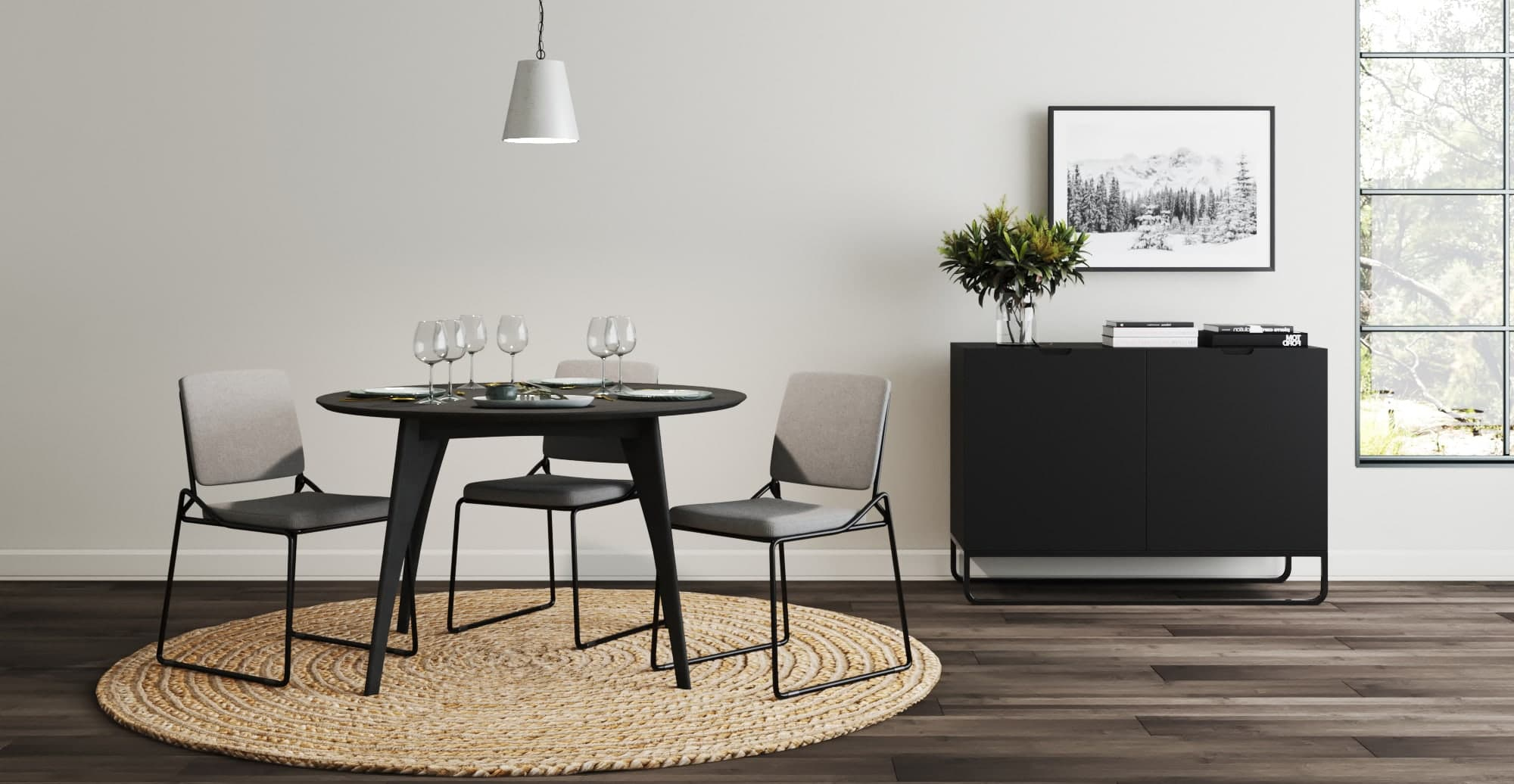 brosa glasser minimalist dining chairs black metal legs with angles in minimalist dining room