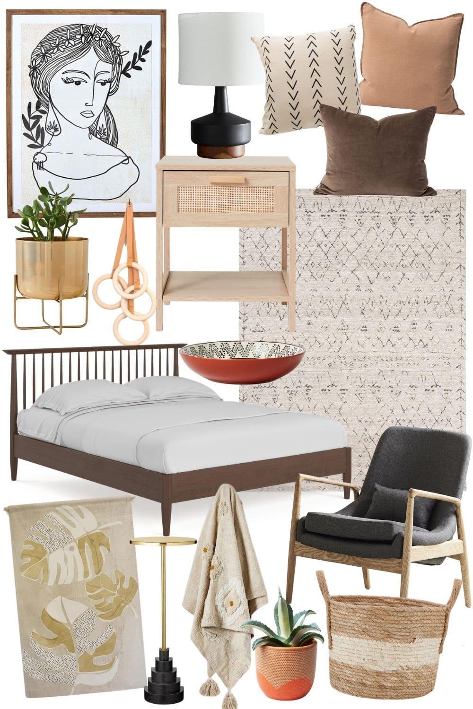 california cool interior design mood board
