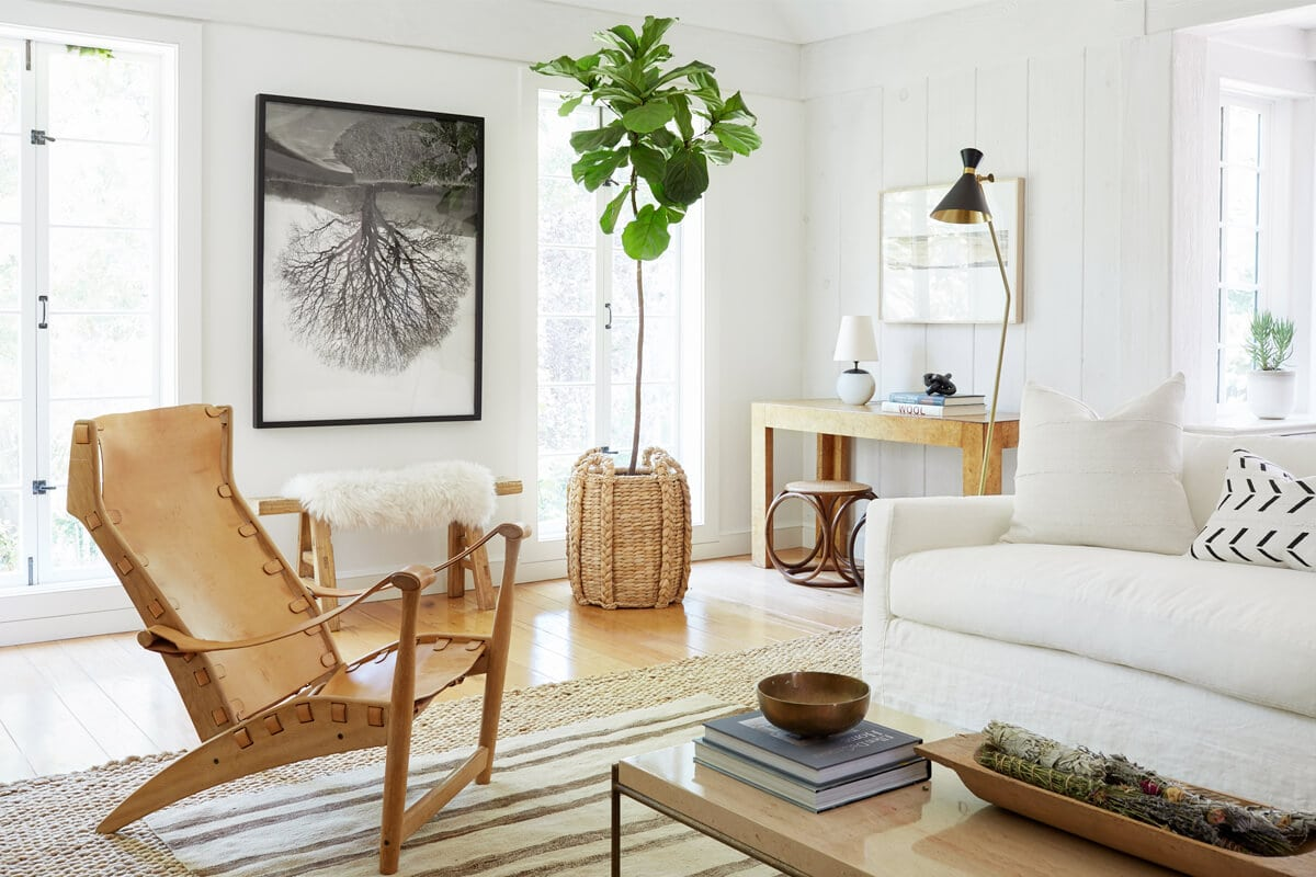 california cool living room with tan leather vintage armchair and large plant