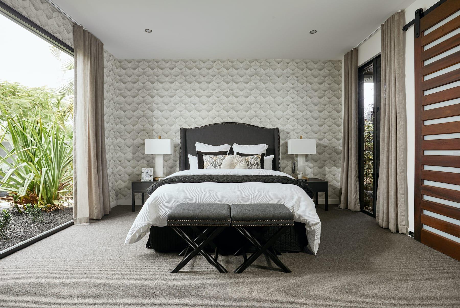 dark neutral bedroom ideas patterned wallpaper in master bedroom with dark headboard
