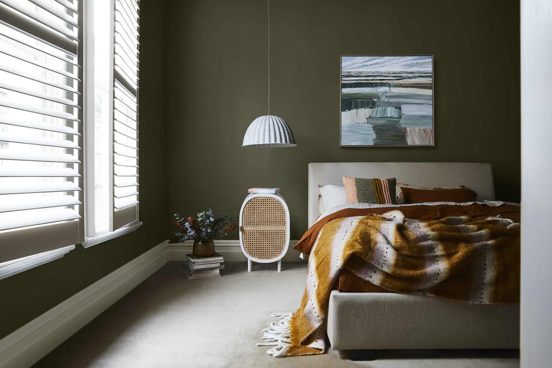 home colour trends for 2021 dark green bedroom walls dulux nourish colour palette