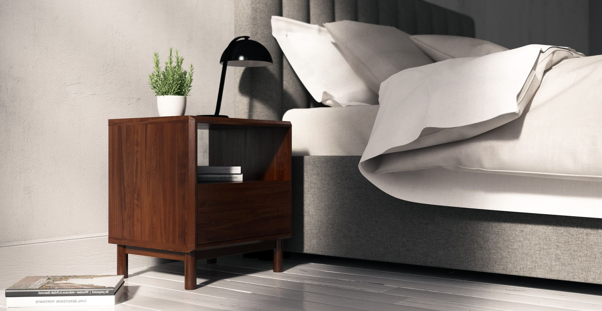 masculine bedroom with dark timber bedside table and black table lamp