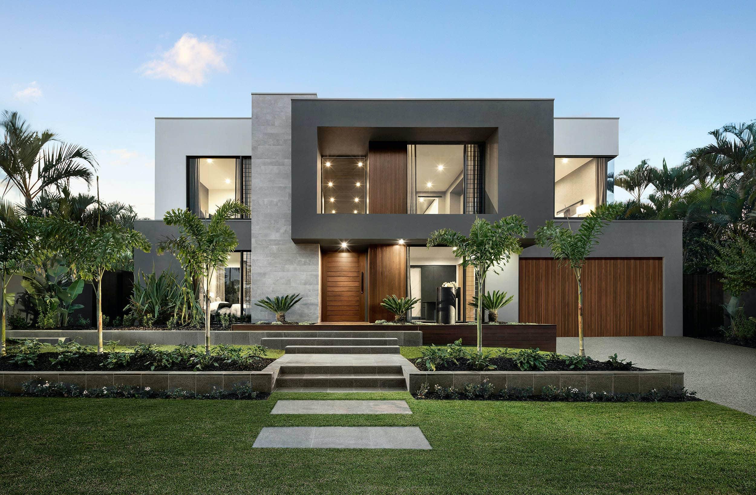 metricon riviera show home dark neutral interior design grey modern home facade