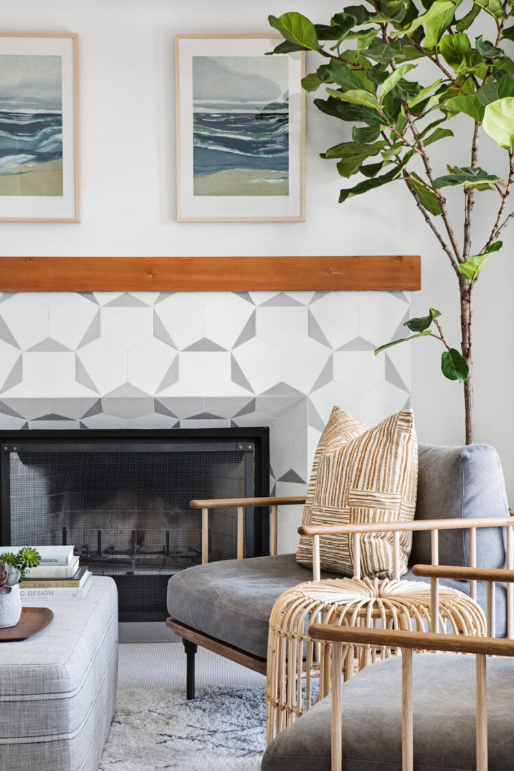 mid century tile fireplace with timber armchair california cool interior fiddle leaf fig
