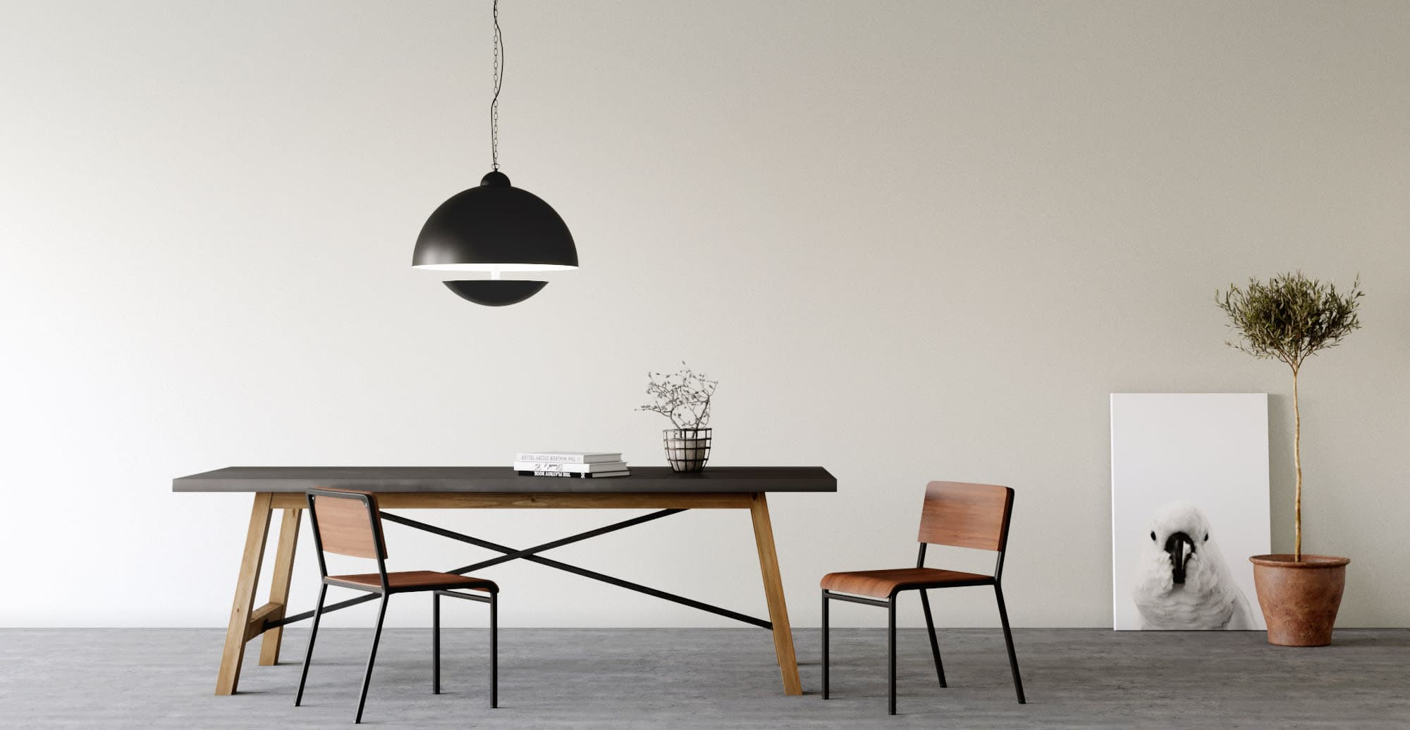 minimalist dining room design with black thin dining table and black minimal pendant light